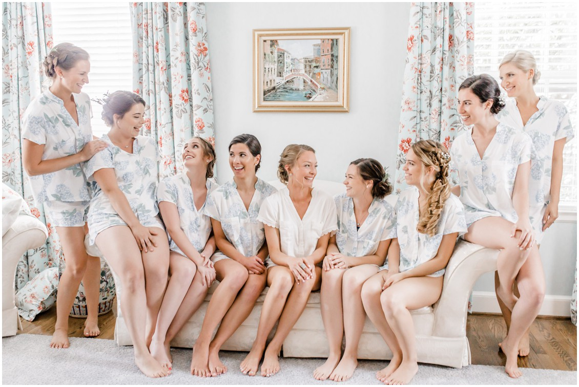 Matching bridesmaid pajamas | Brittland Manor | My Eastern Shore Wedding | bride - bridesmaids - wedding party - brittland estate - brittland manor - blue-grey wedding featured on My Eastern Shore Wedding