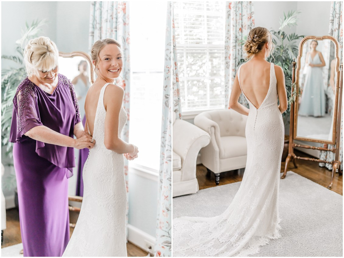 Mother getting daughter ready | Brittland Manor | My Eastern Shore Wedding | bride - wedding dress - bespoke - elegant - whimsical - lace - brittland estate - brittland manor - blue grey wedding featured on My Eastern Shore Wedding
