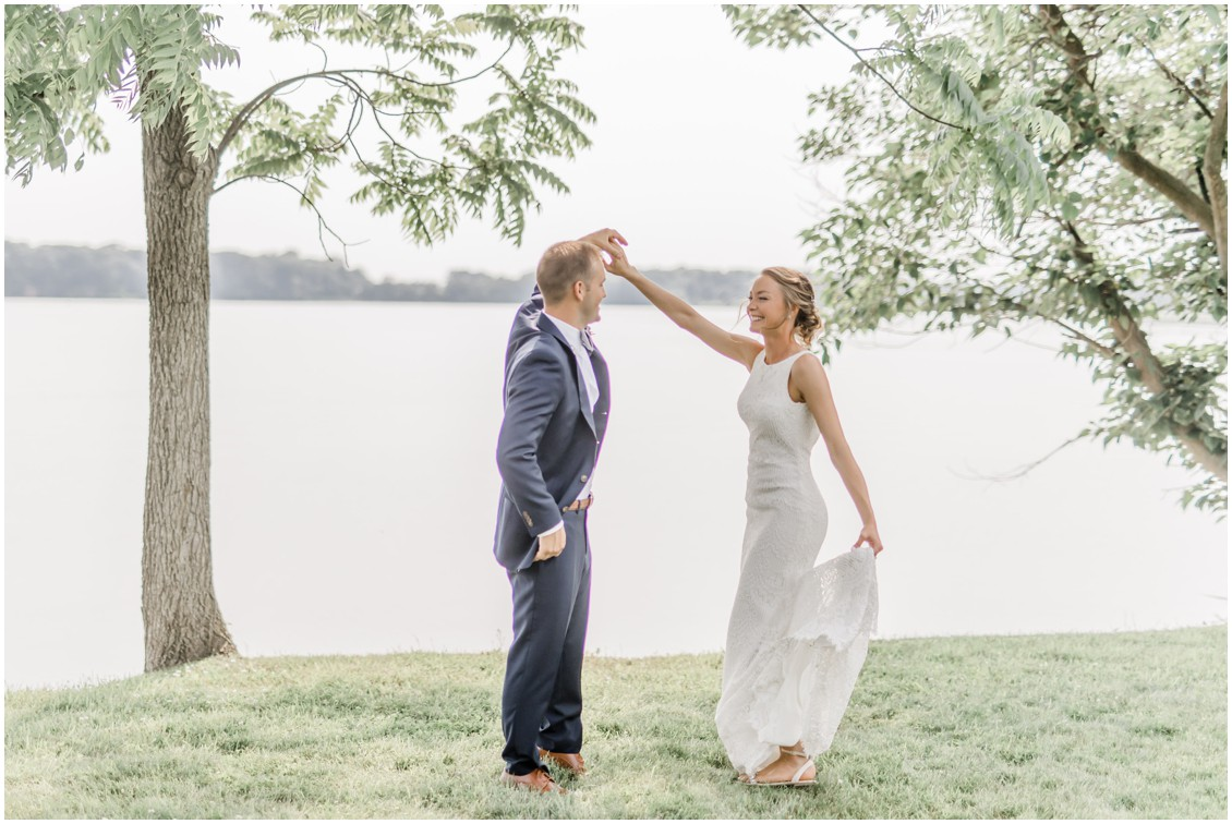 Bride and groom dancing | Brittland Manor | Waterfront wedding | My Eastern Shore Wedding |