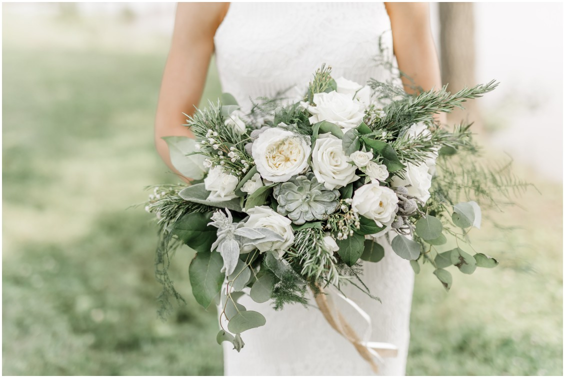 The Wedding Bouquet | Natural bouquet | My Eastern Shore Wedding | greenery and white florals - succulents - blue grey wedding inspiration at brittland manor - brittland estates in chestertown maryland