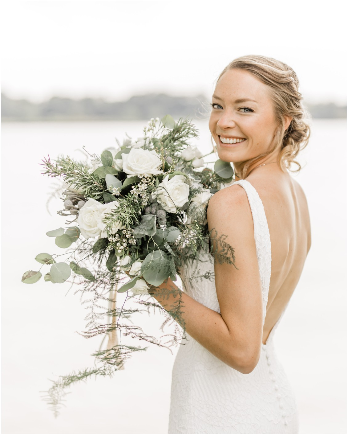 Backless wedding gown | Bride with natural bouquet | My Eastern Shore Wedding |