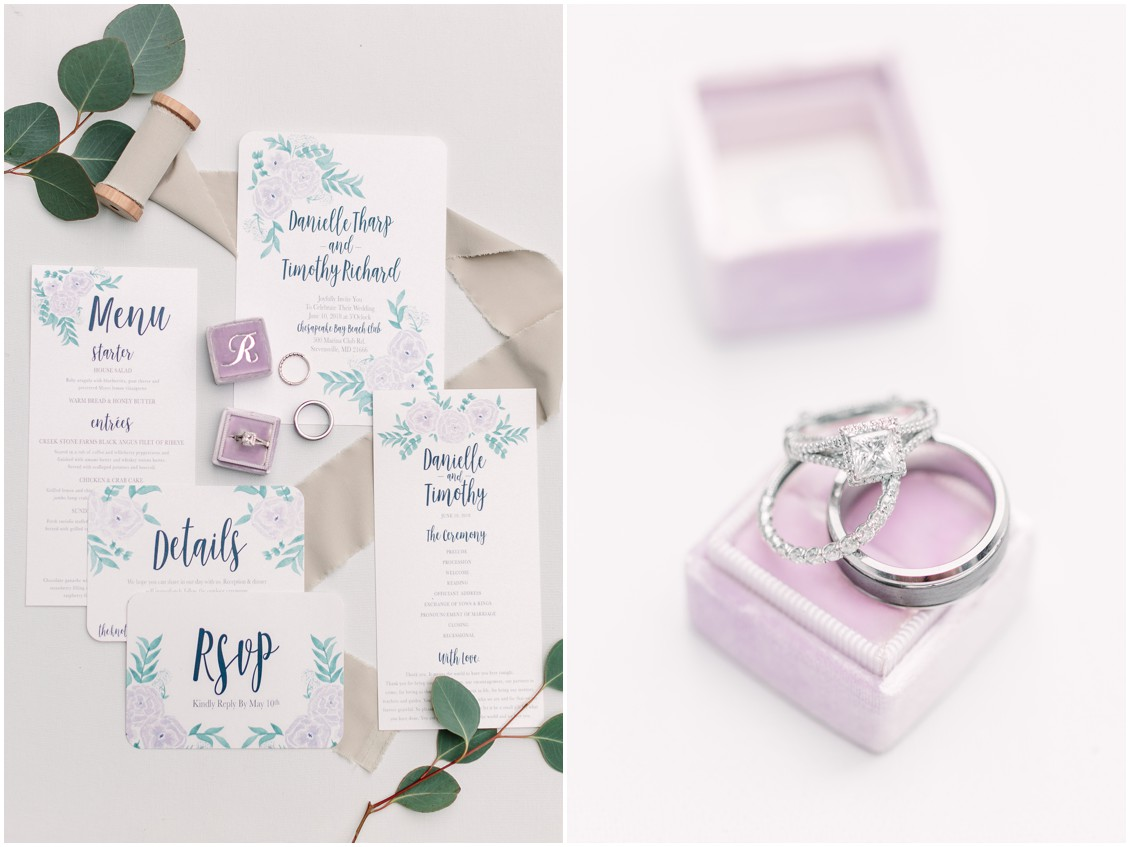 Wedding stationery and rings | Lavender | My Eastern Shore Wedding |
