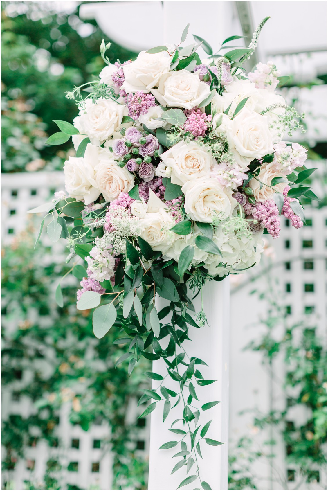 Crimson & Clover floral arrangement | White roses and purple flowers | Chesapeake Bay Beach Club | My Eastern Shore Wedding