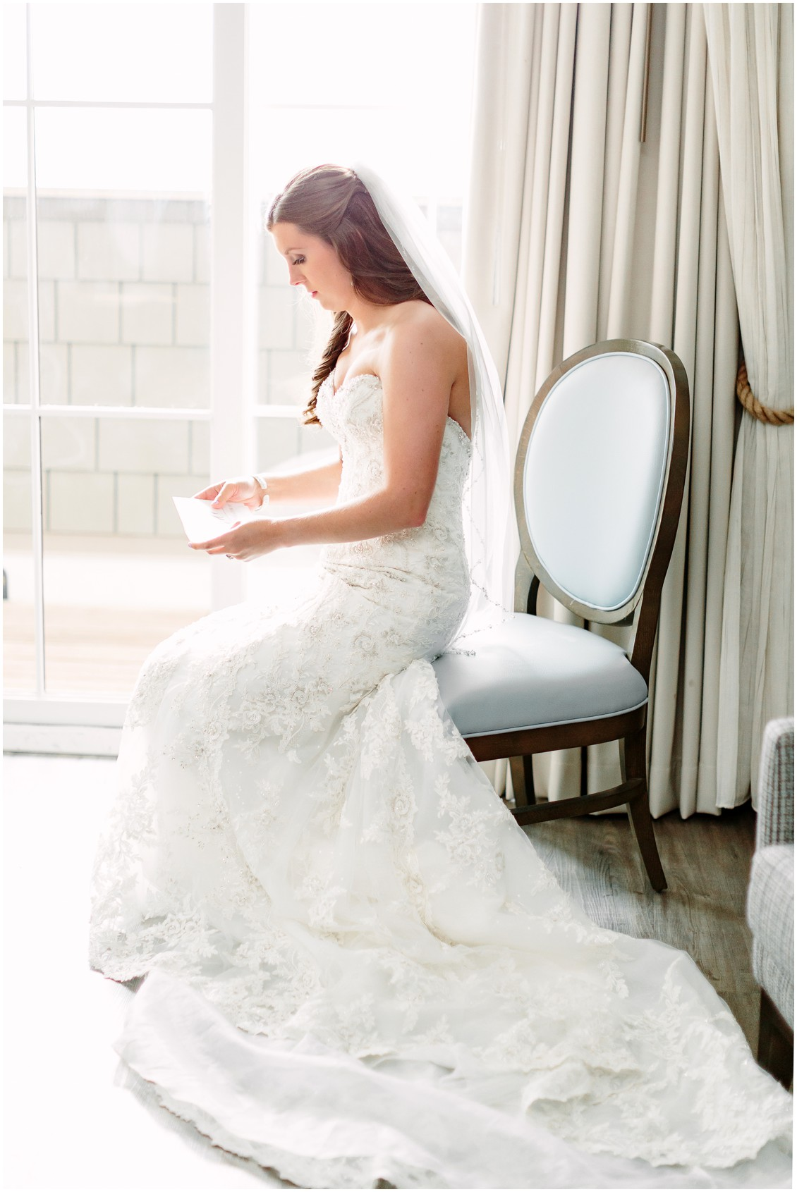 Bride | Strapless, lace wedding gown | My Eastern Shore Wedding |