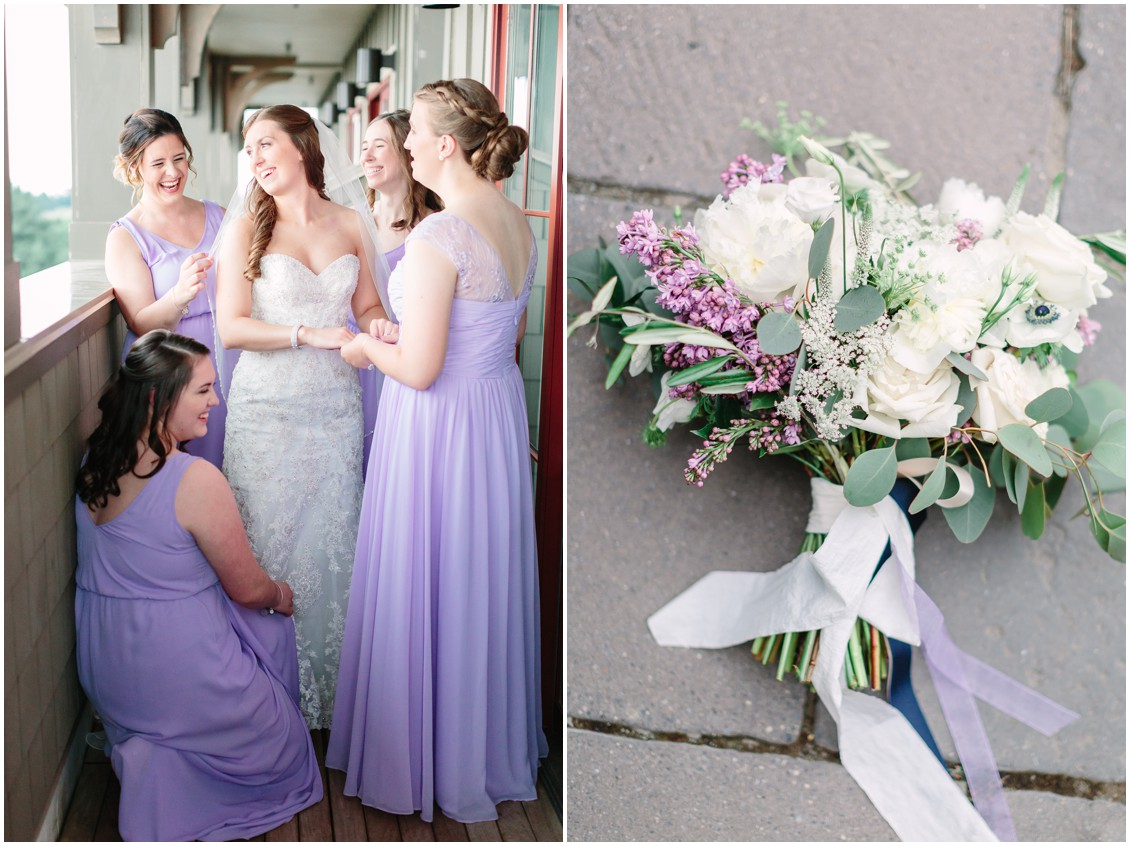 Bride and bridesmaids | Strapless, lace wedding gown | Lavender bridesmaid dresses | Wedding bouquet | My Eastern Shore Wedding |