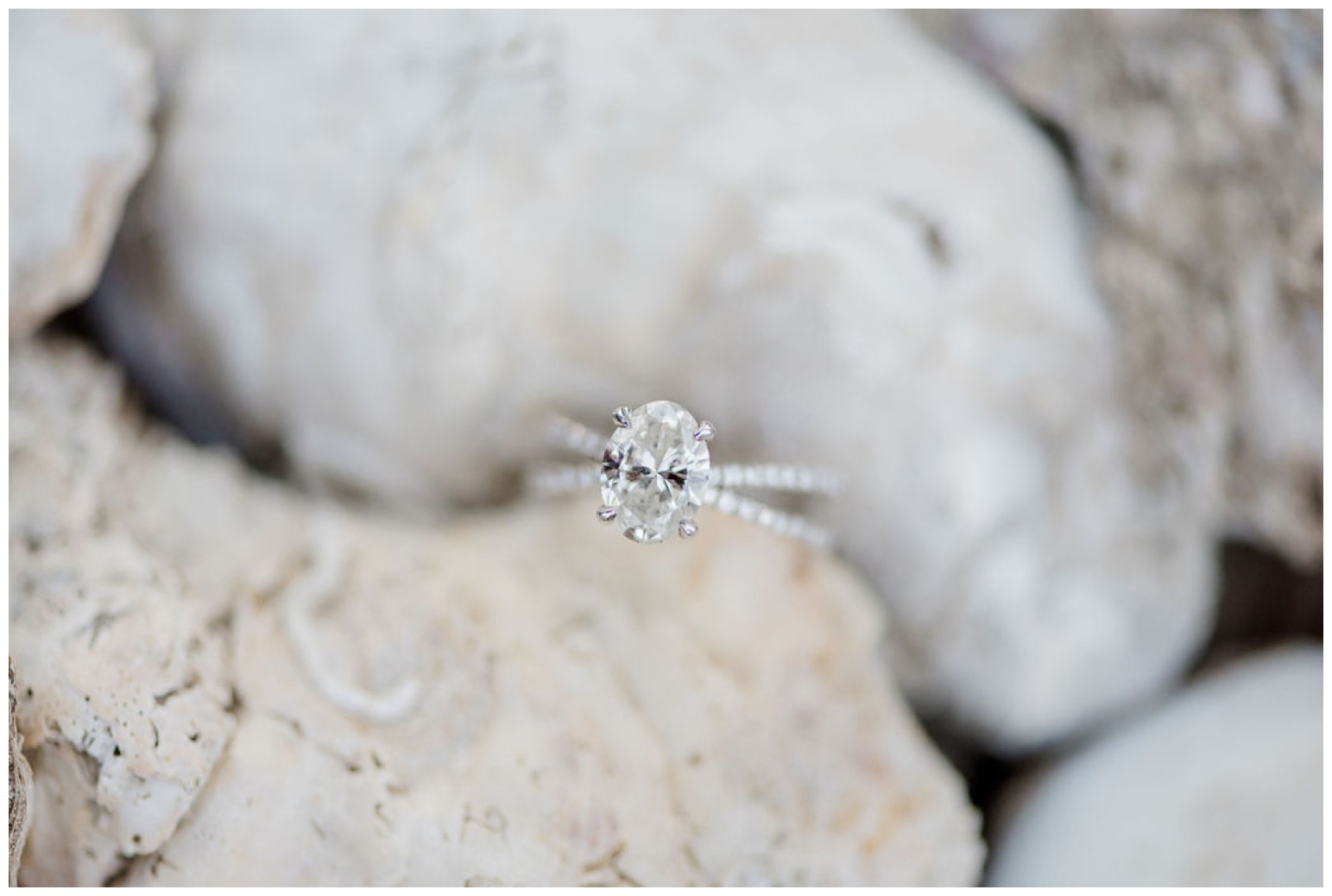 photo of diamond engagement ring and oyster shells for engagement photo session on eastern shore - bay inspired - coastal maryland - beach ideas - style