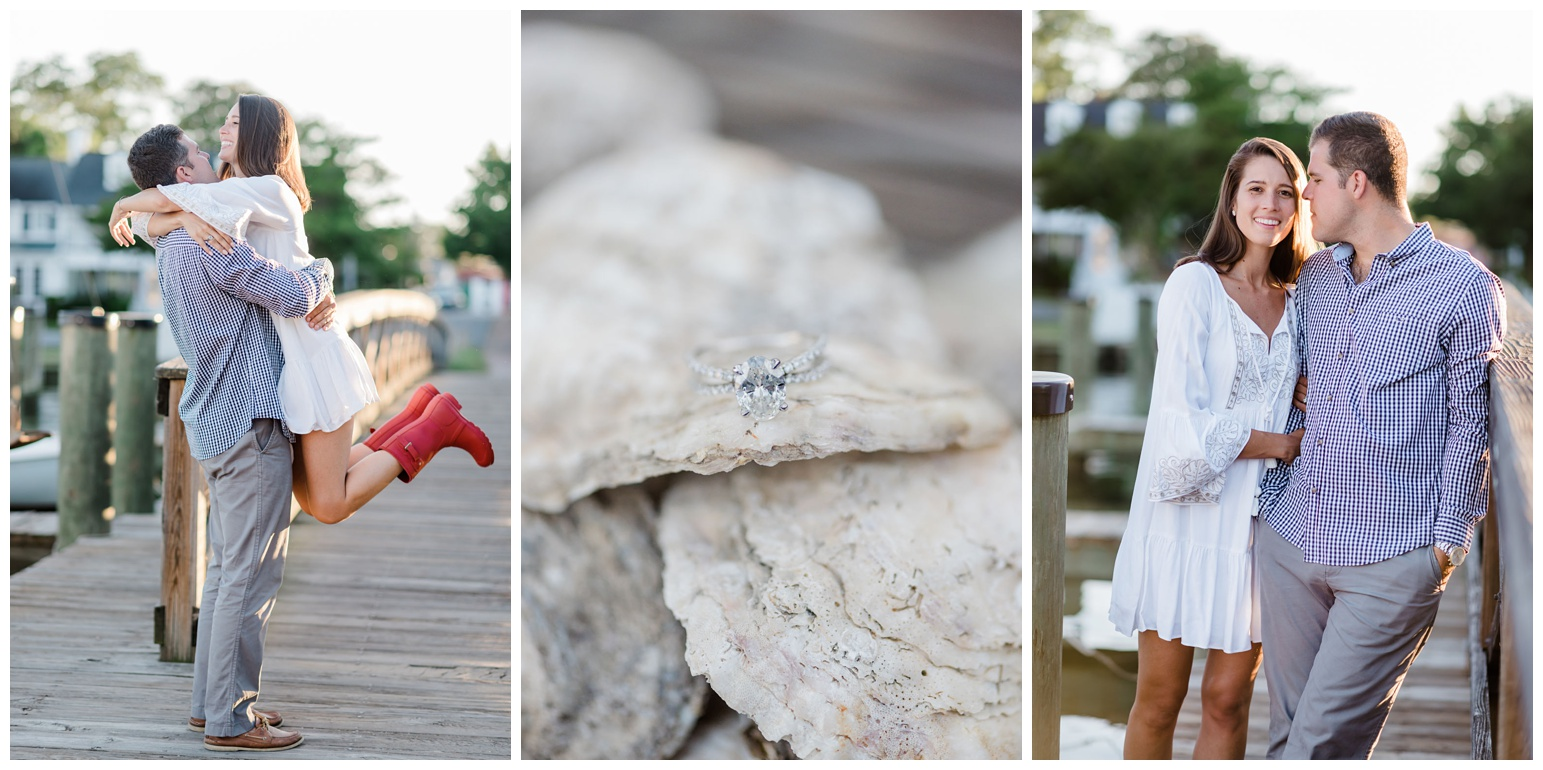 classic chesapeake bay inspired engagement photos - session - on maryland eastern shore town of st. michaels - red boots - oyster shells - sunset - waterfront