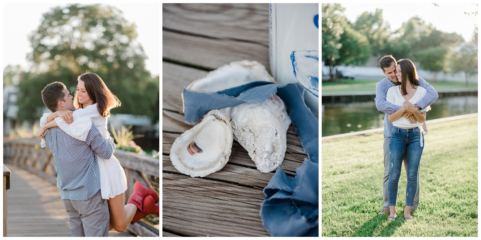 photo of engagement ring - diamond ring - with blue ribbon, oyster can, and oyster shells on pier dock - st. michaels engagement photos outside in grass and on pier - waterfront - coastal - nautical - bayside - bay inspiration