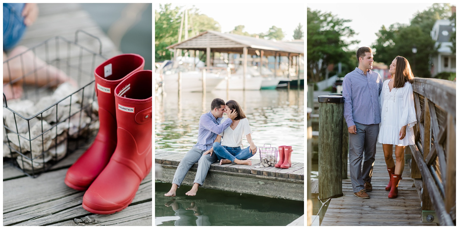 red rainboots - hunter boots - oyster shells - metal basket - coastal bay inspired decor - engagement photo inspiration and ideas from the eastern shore - photo of couple on dock pier - waterfront