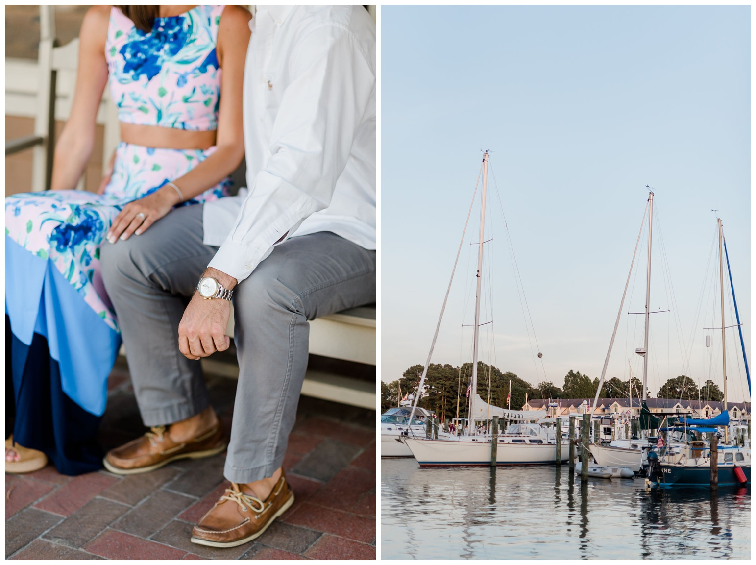 photos of couple sitting outside in maryland coastal town venue - st. michaels and sailboats on chesapeake bay - coastal bayside inspiration - bay inspired - summer