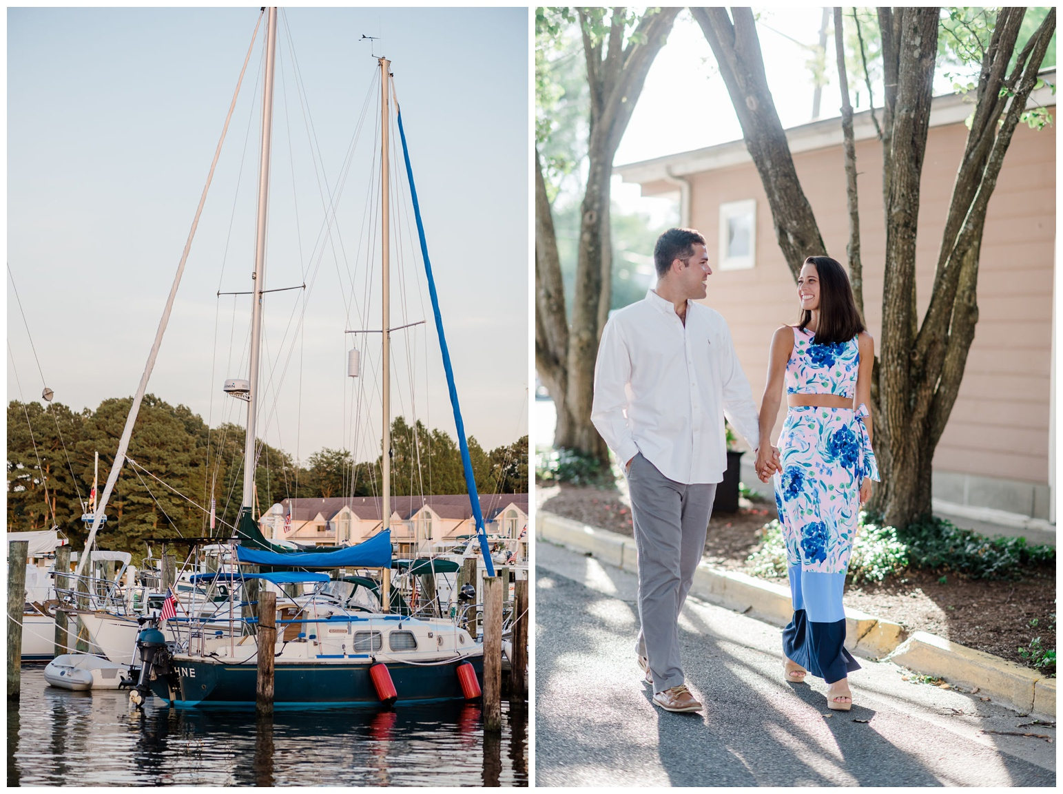 couple walking outside at st. michaels engagement - sailboats on eastern shore maryland - coastal - bayside - chesapeake bay inspired - sailing - photoshoot in the summer on the water - waterfront ideas