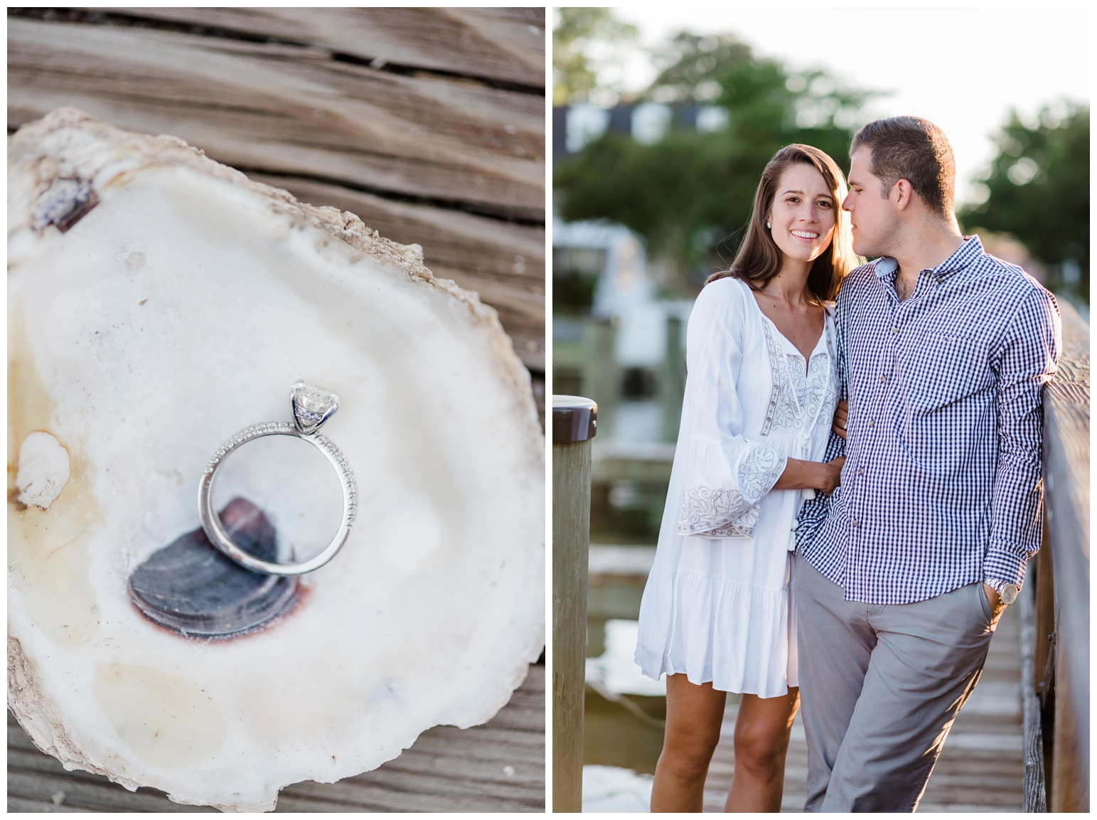 coastal - chesapeake bay - nautical - ocean - beach inspired engagement ring - diamond ring photo with oyster shell on the dock - pier - for the couple who loves the beach sailing the ocean the bay being outdoors