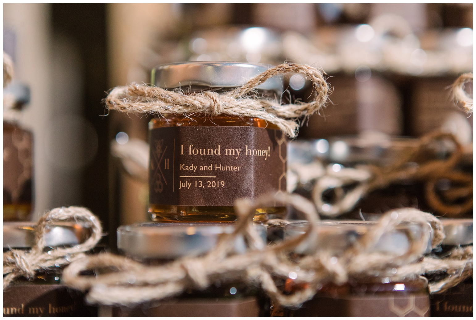 honey pot - jars - wedding favors - i found my honey - rustic wedding decor - ideas - inspiration - real wedding - now featured on My Eastern Shore Wedding
