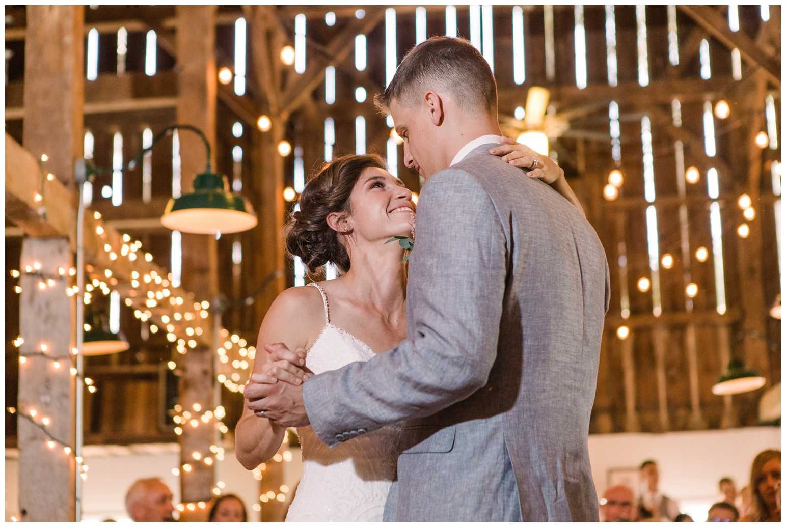 bride and groom dancing in barn reception at worsell manor - summer wedding inspiration