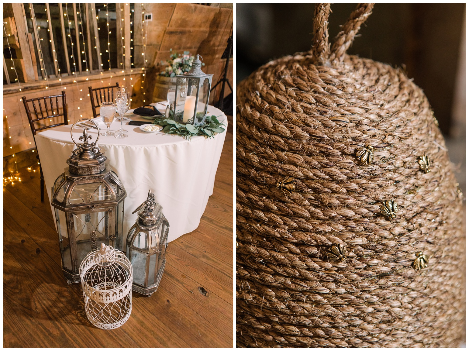 rustic wedding ideas and inspiration - barn wedding reception - lanterns - honey bee theme - honey  bee inspired wedding ideas - basket style bee hive with gold honey bee accents