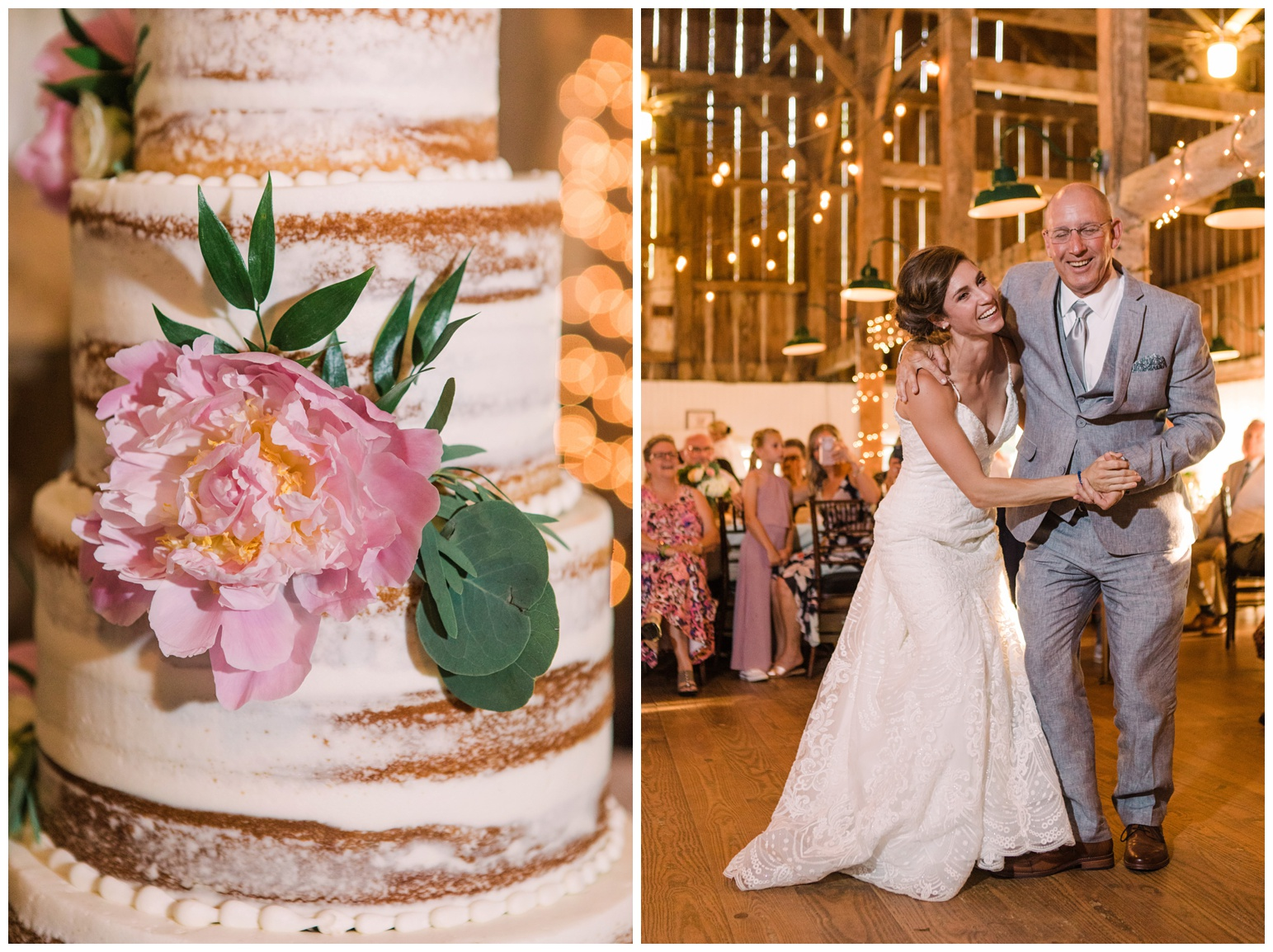 real wedding at worsell manor in the summer - warwick md - now featured on My Eastern Shore Wedding - coastal - sea - nautical - eastern shore - inspired wedding ideas and inspo - photo of wedding cake with pink peony floral decor and bride and father dancing in barn reception - rustic wedding decor theme