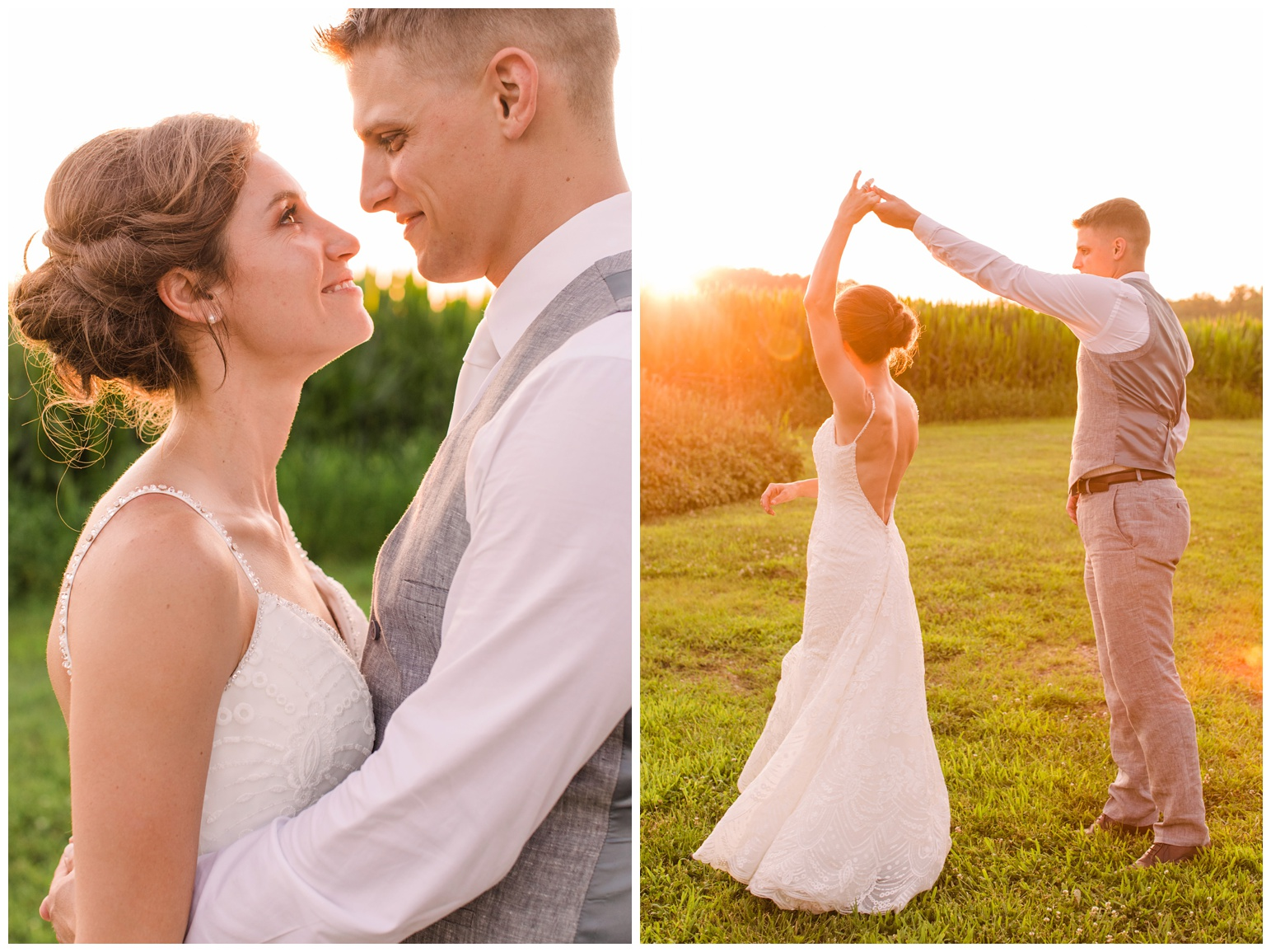 summer wedding at worsell manor - warwick md - now featured on My Eastern Shore Wedding - coastal - sea - nautical - eastern shore - inspired wedding ideas and inspo - photo of bride and groom outdoors at sunset - golden hour - in front of corn field - twirling