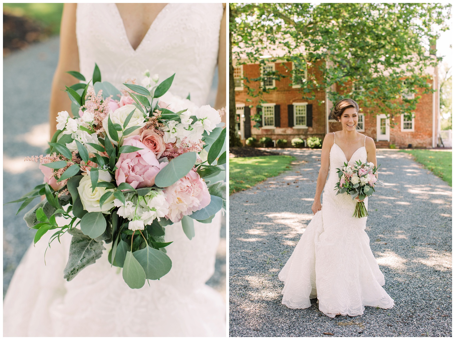 summer wedding at worsell manor - warwick md - now featured on My Eastern Shore Wedding - coastal - sea - nautical - eastern shore - inspired wedding ideas and inspo - photo of bride outdoors in front of brick manor style building