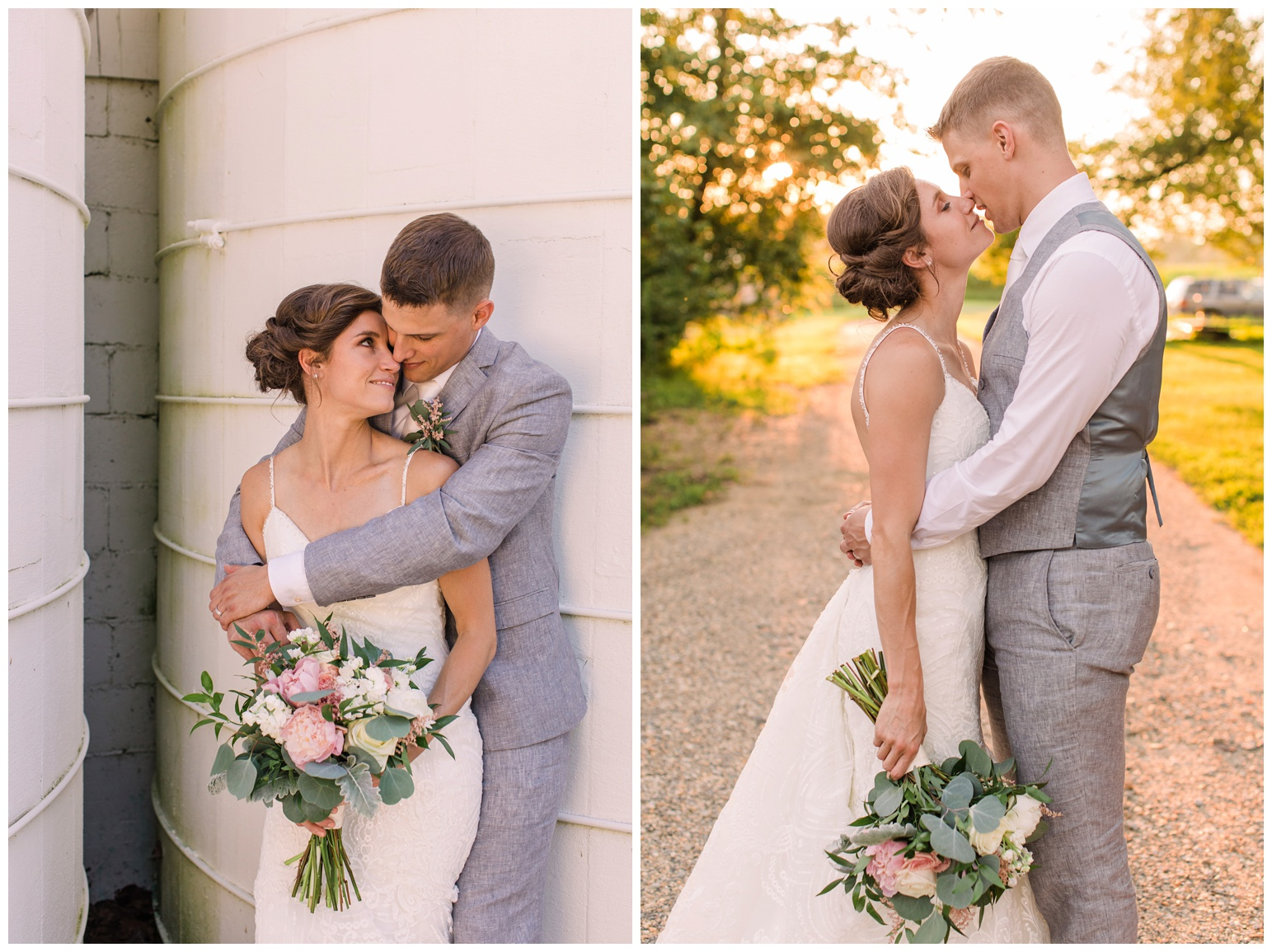 worsell manor wedding in the summer - warwick md - now featured on My Eastern Shore Wedding - coastal - sea - nautical - eastern shore - inspired wedding ideas and inspo - photo of bride and groom in front of silo - formal portrait photo outdoors