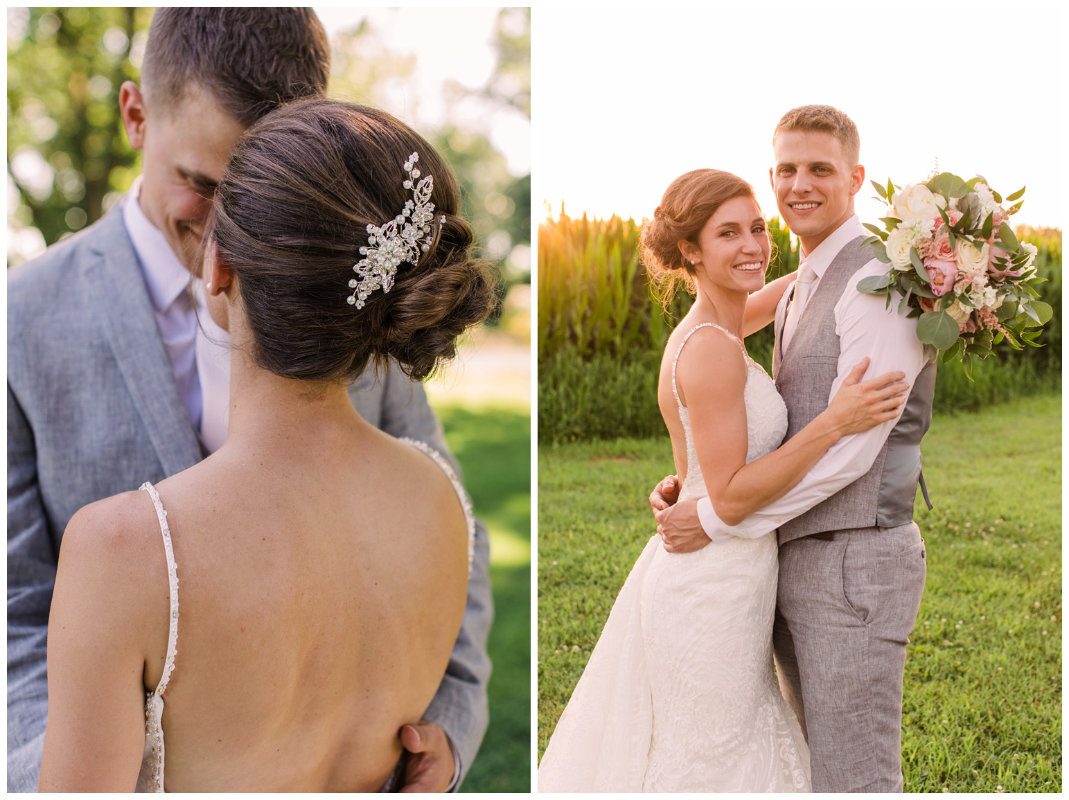 bride and groom outdoors at eastern shore maryland md wedding in the summer - cornfields - by laura's focus photography