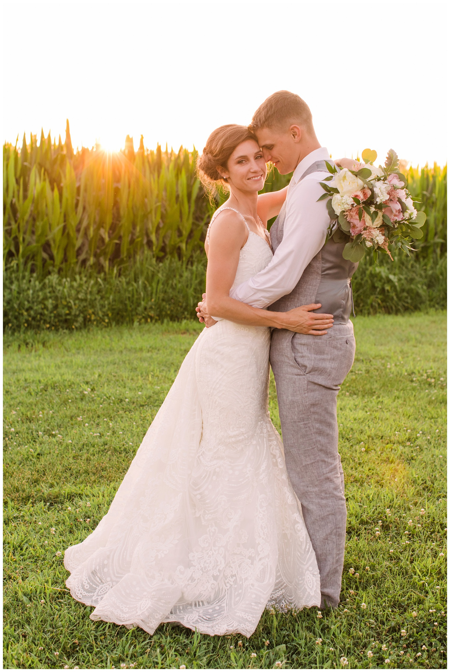 summer wedding at worsell manor - warwick md - now featured on My Eastern Shore Wedding - coastal - sea - nautical - eastern shore - inspired wedding ideas and inspo - photo of bride and groom outdoors at sunset - golden hour - in front of corn field