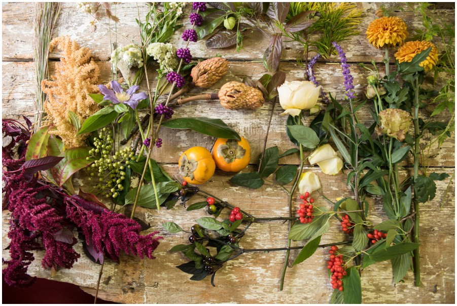 Fall Florals for Fall using native plants in Centerpiece for an Eastern Shore wedding