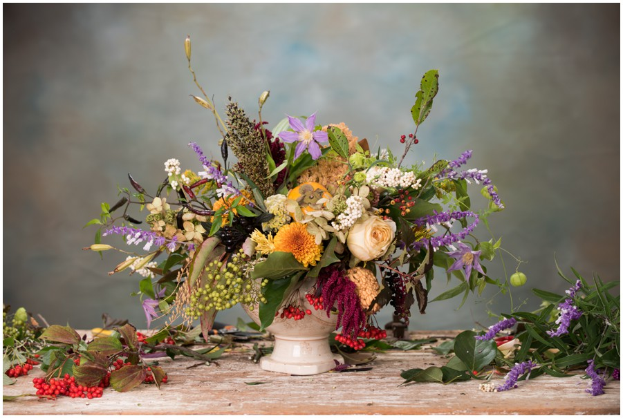 Gorgeous centerpiece using native plants for an Eastern Shore wedding