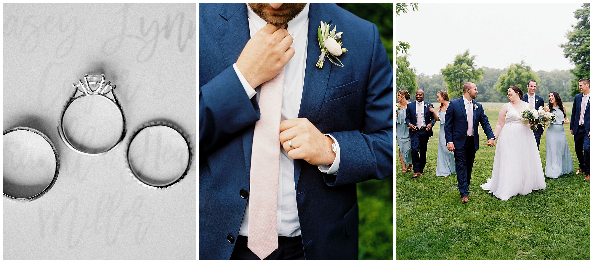 wedding ring set and groom getting ready photo wearing light pink tie with romantic boutonnière and photo of happy wedding party and couple outdoors