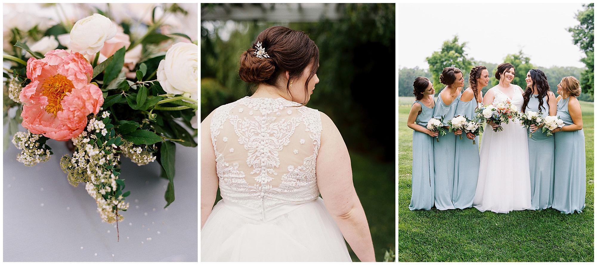 pink florals, sea blue bridesmaid dresses, boho wedding inspiration, lace wedding dress, floral clip, eastern shore wedding