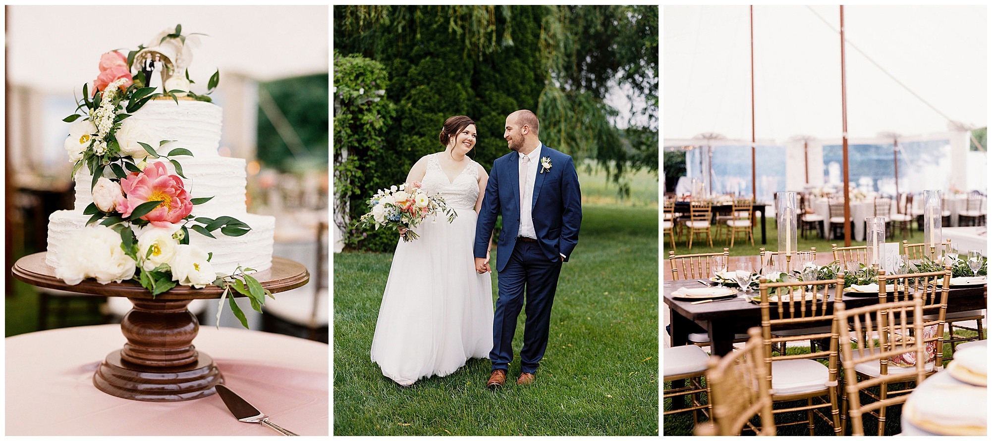 classic, timeless, modern, romantic wedding inspiration at inn at huntingfield wedding on maryland eastern shore. tiered wedding cake with handmade wooden cake stand and pink peonies, photo of happy couple outdoors smiling, and modern greenery and gold wedding reception outdoors beneath tent on the eastern shore blog