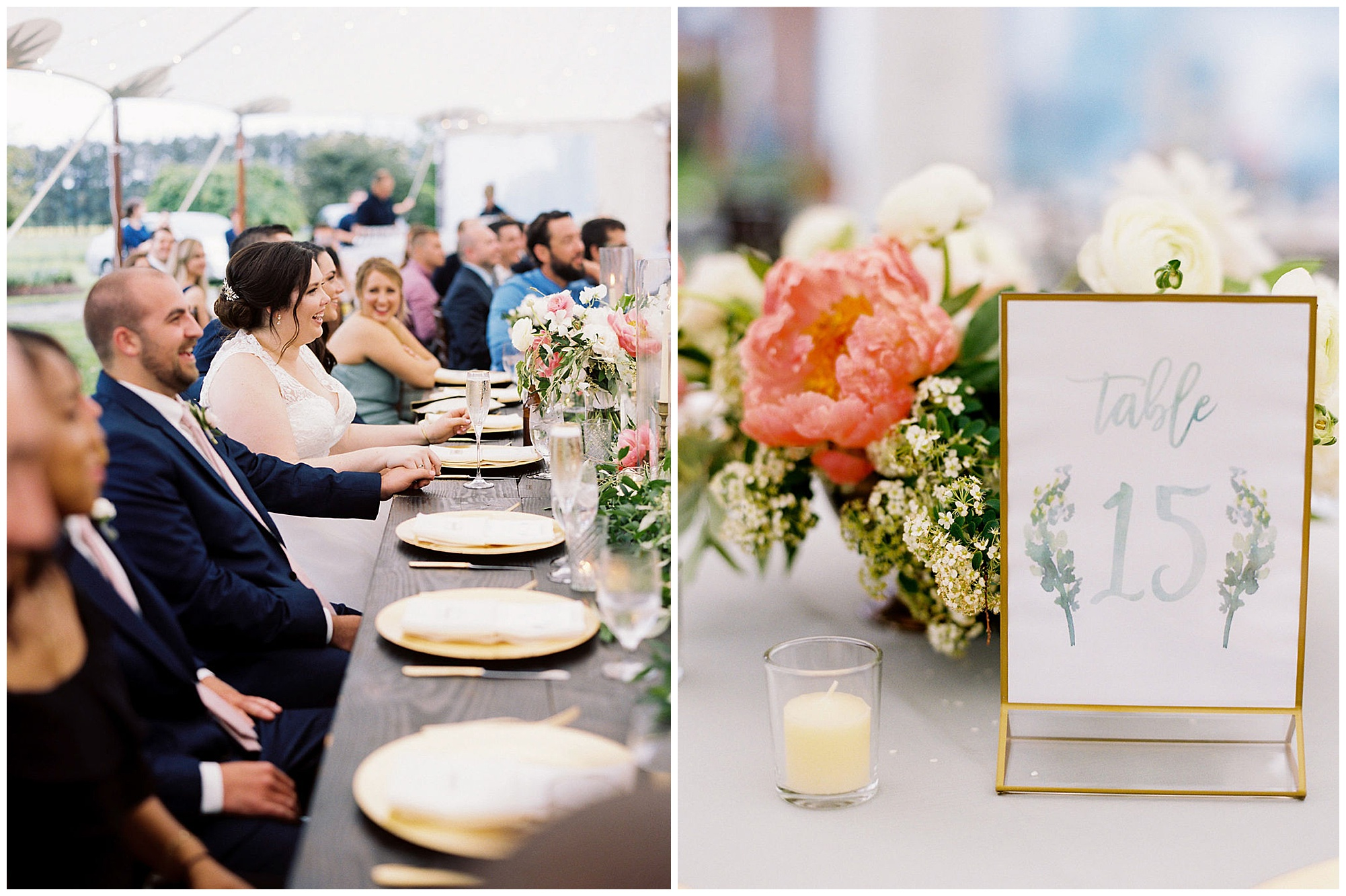 classic, timeless, modern, romantic wedding inspiration at inn at huntingfield wedding on maryland eastern shore. pink peonies floral arrangements, table number cards display setting, and bride and groom smiling at rainy day reception