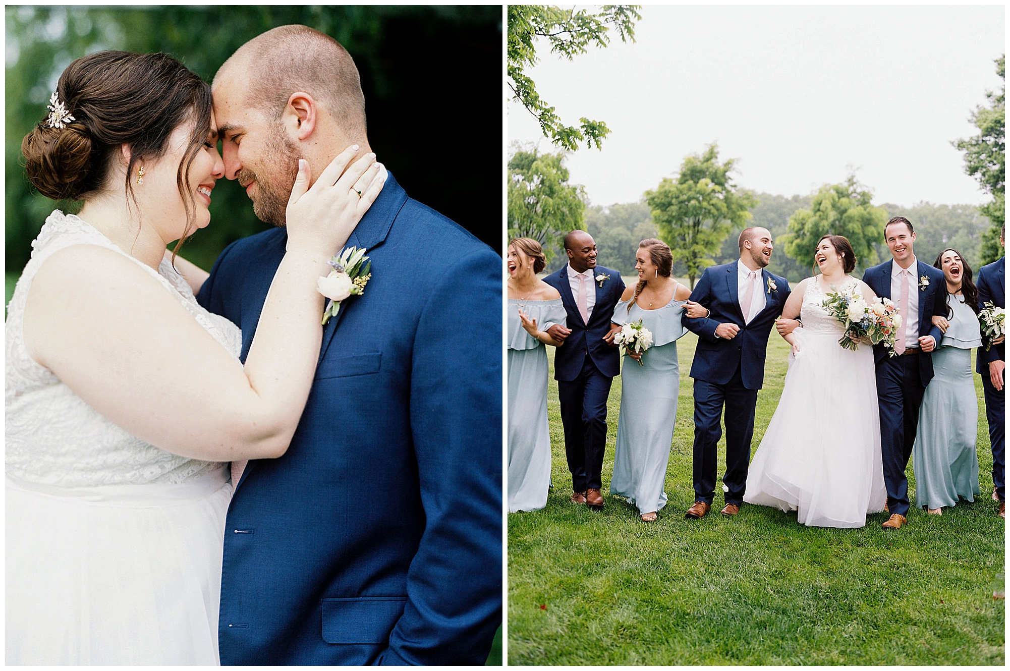 bride and groom portraits with wedding party. blue and pink attire. classic wedding inspiration and ideas for any season. now featured on my eastern shore wedding