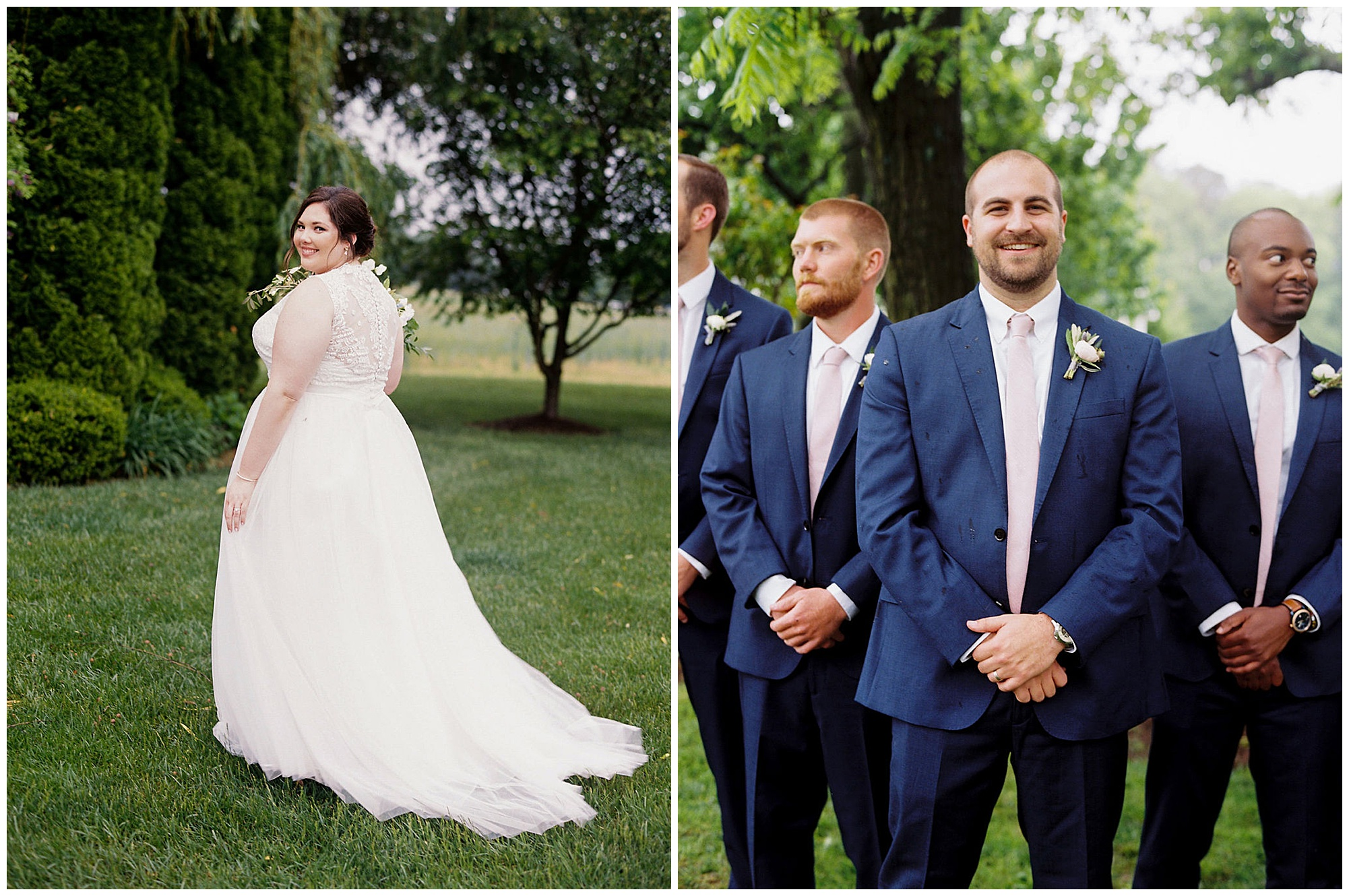 bride and groom portraits outdoors at eastern shore wedding venue, inn at huntingfield in rock hall md