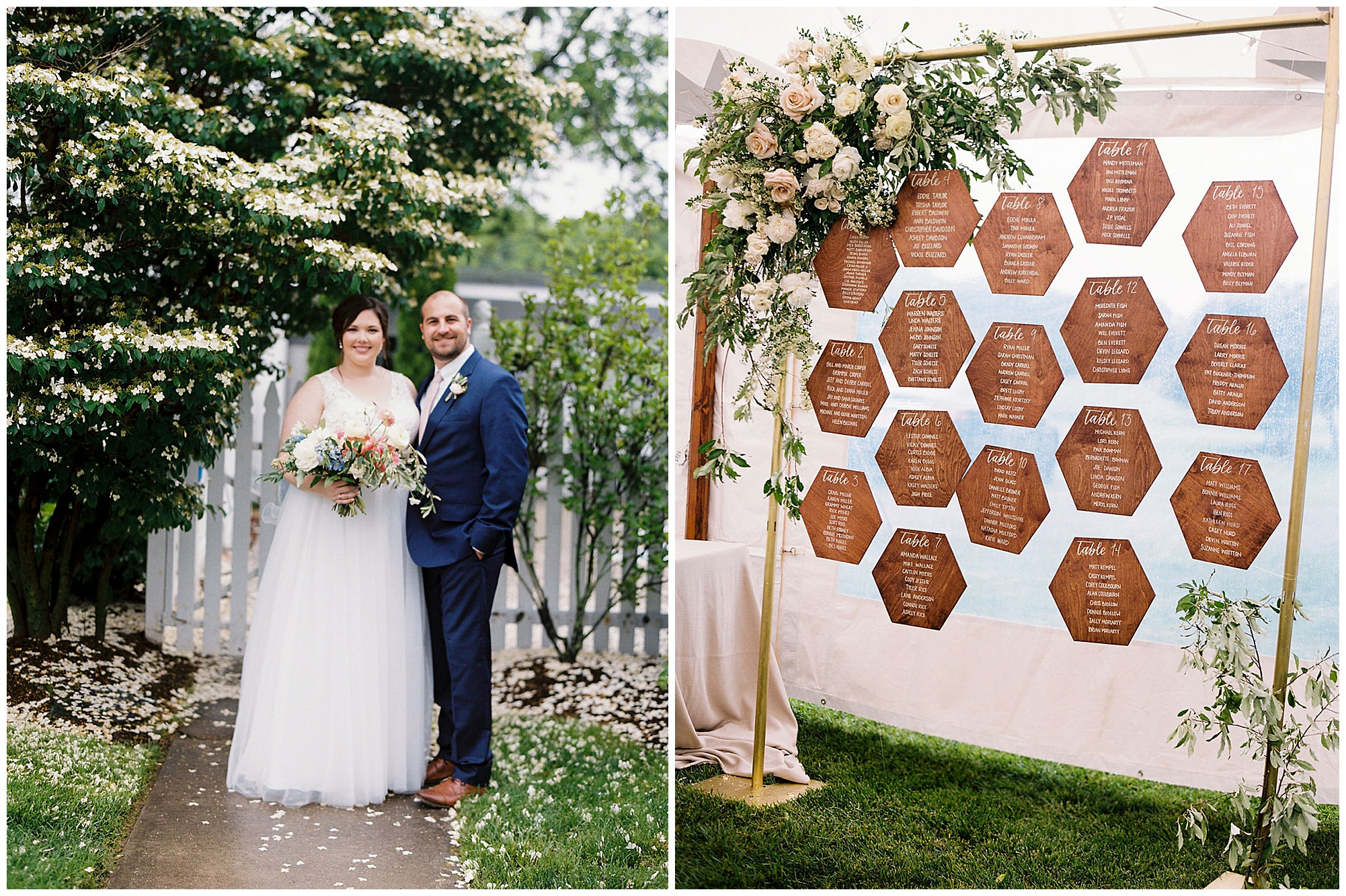 boho wedding inspiration in the garden from maryland eastern shore and photo of geometric natural woodgrain name place card escort display with untamed floral arbor arch with gold metal frame and greenery and white