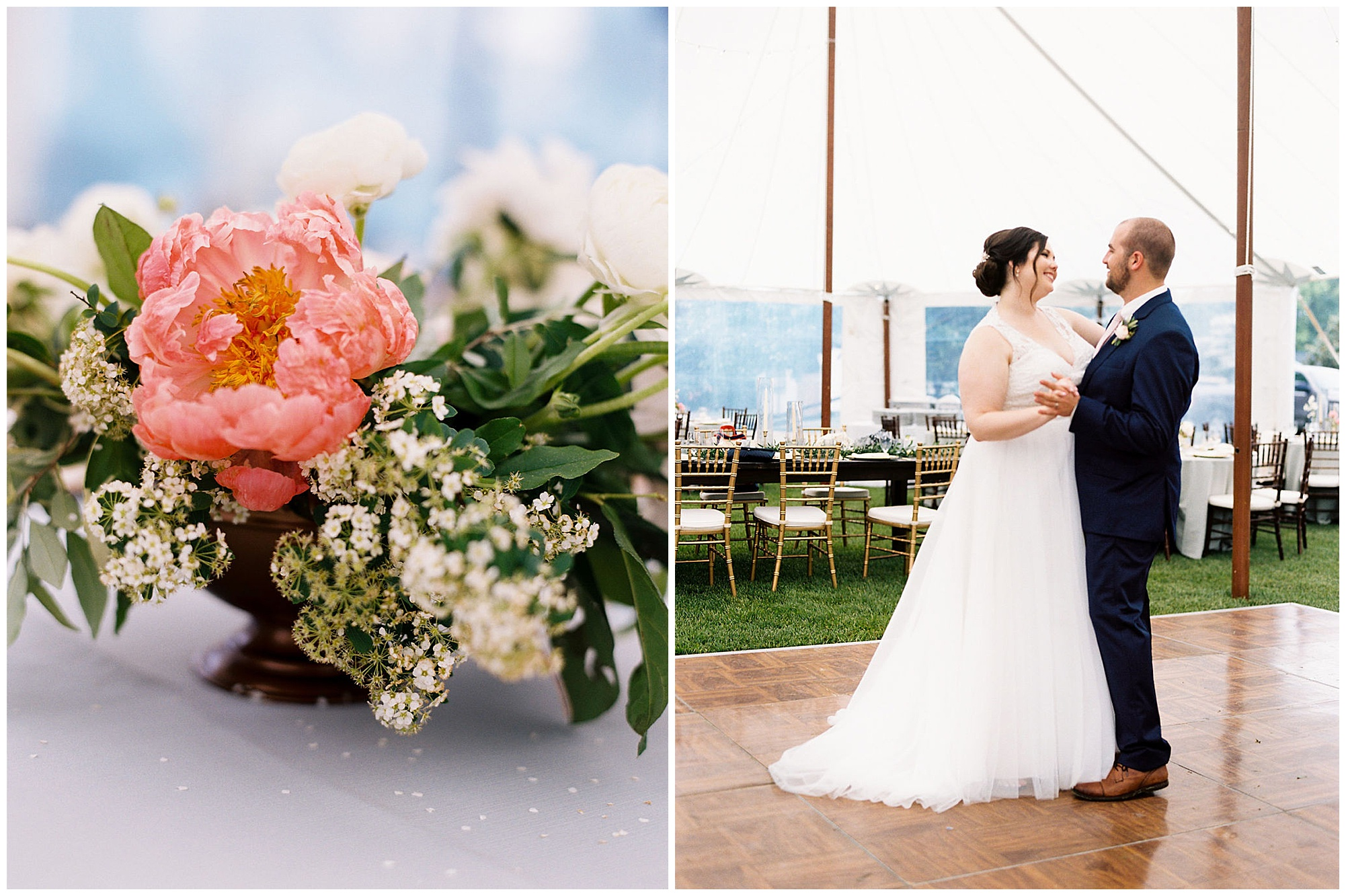 classic, timeless, modern, romantic wedding inspiration at inn at huntingfield wedding on maryland eastern shore. pink peonies floral arrangements and bride and groom dancing beneath tent at rainy day reception