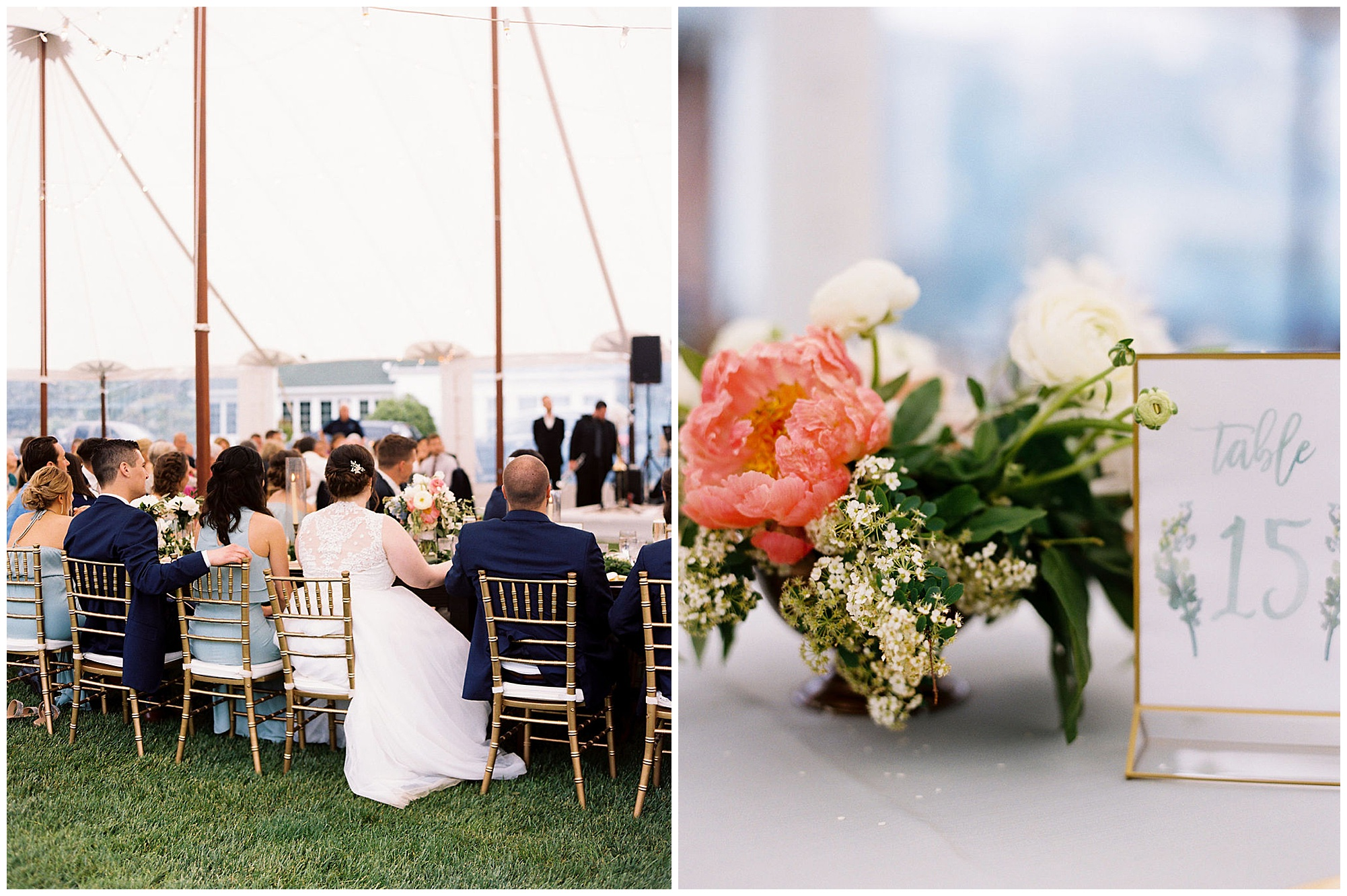 classic, timeless, modern, romantic wedding inspiration at inn at huntingfield wedding on maryland eastern shore. pink peonies floral arrangement, modern table number setting decor, and bride and groom at rainy day reception