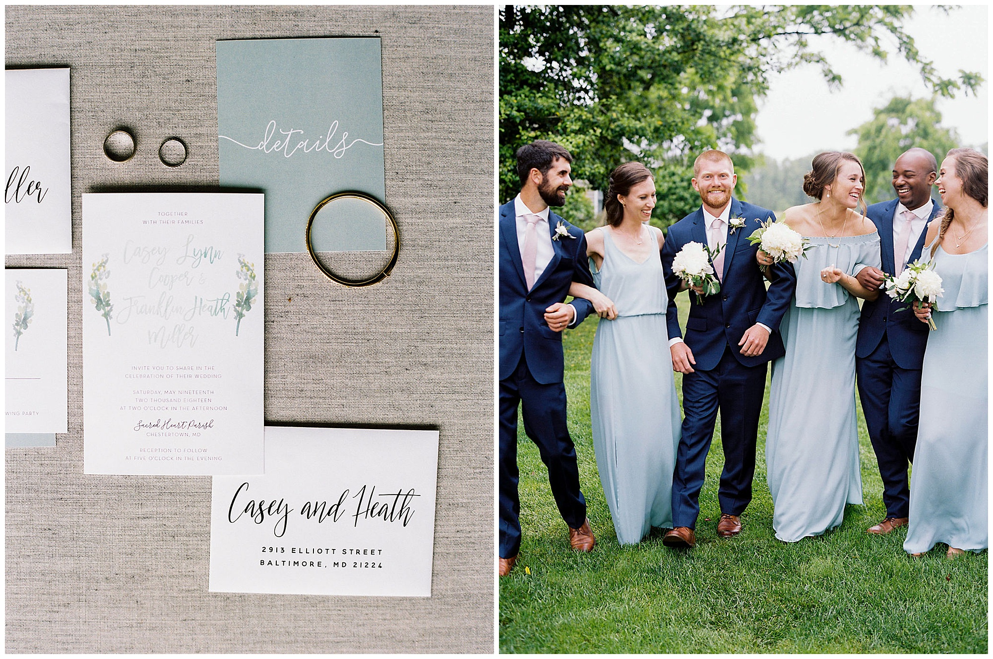 elegant blue and white floral wedding invites with watercolor design and photo of happy bridesmaids and groomsmen outdoors with navy suits, pink ties, elegant florals, and blue dreses