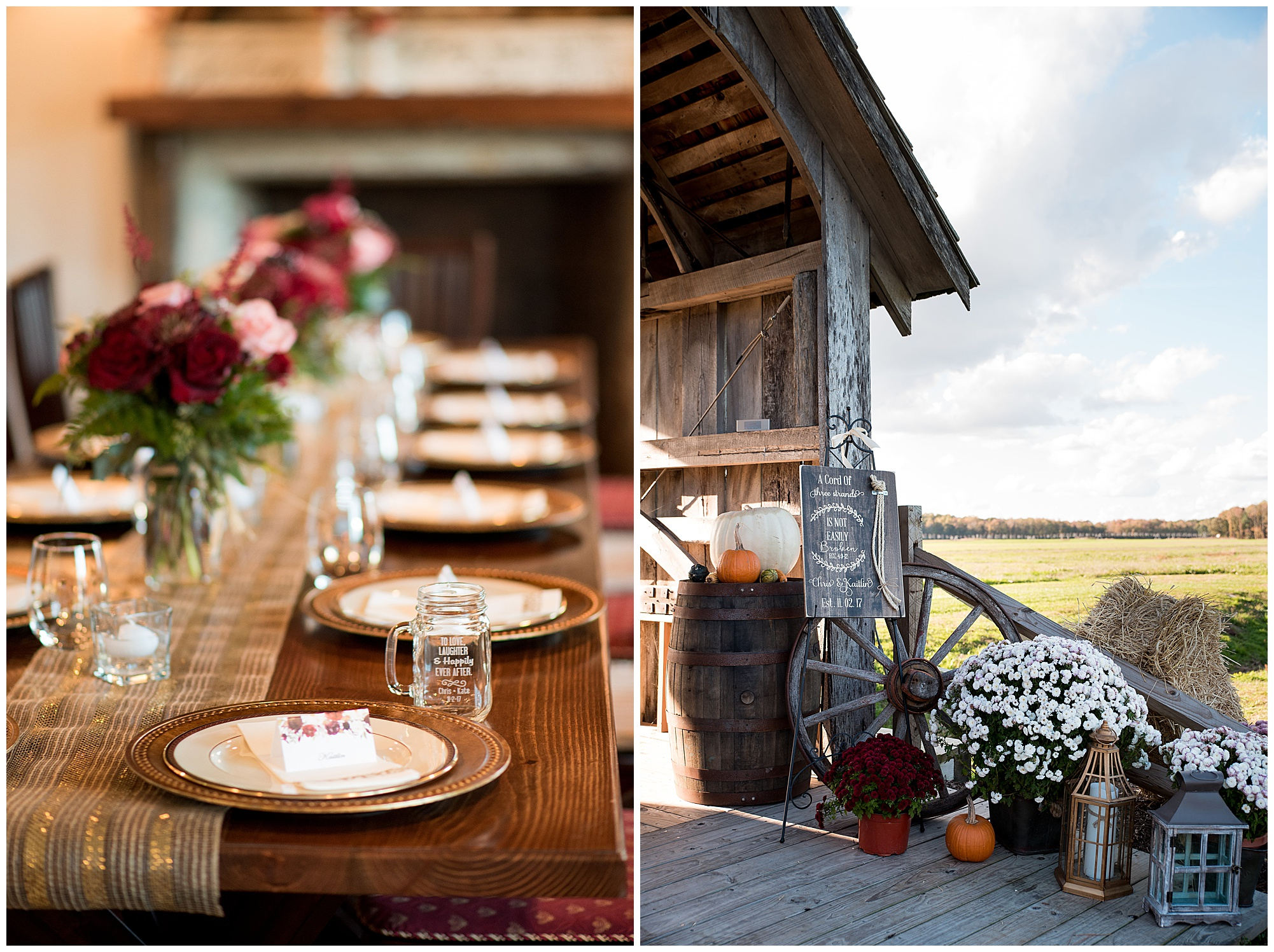 wedding photos at covered bridge inn bed and breakfast farm in lewes delaware. historic wedding barn venue on the eastern shore. fall wedding in november with rustic decor theme. photo of banquet table style reception and ceremony decor with fall mums, pumpkins, wagon wheels, and lanterns.