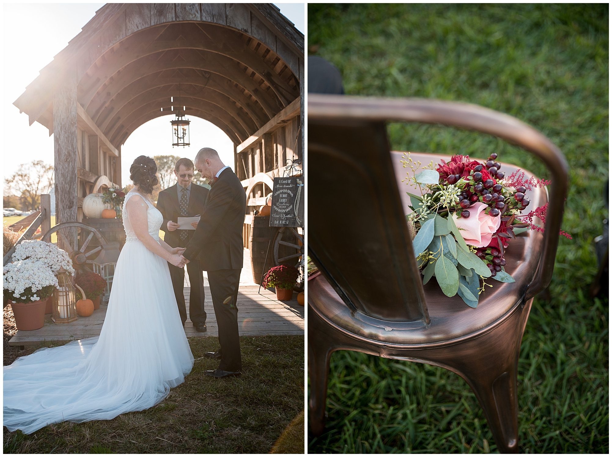 sunlight. prayers. wedding photos outdoors at covered bridge inn in lewes delaware. historic wedding barn venue on the eastern shore. fall wedding in november with rustic decor theme.