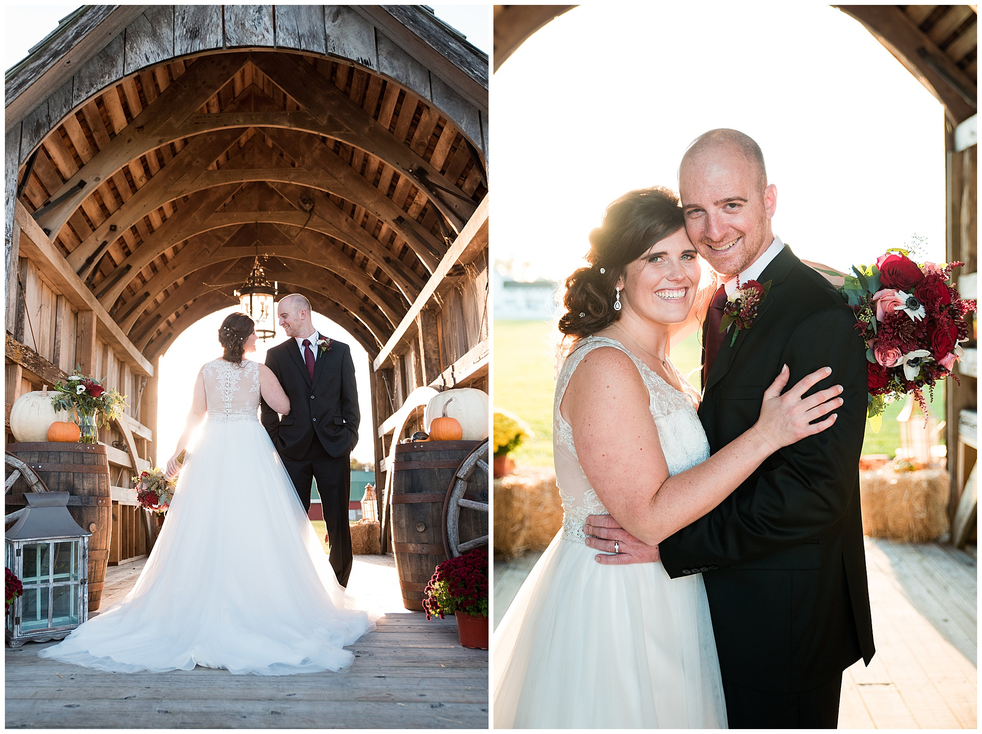 wedding photos outdoors at covered bridge inn in lewes delaware. historic wedding barn venue on the eastern shore. fall wedding in november with rustic decor theme.