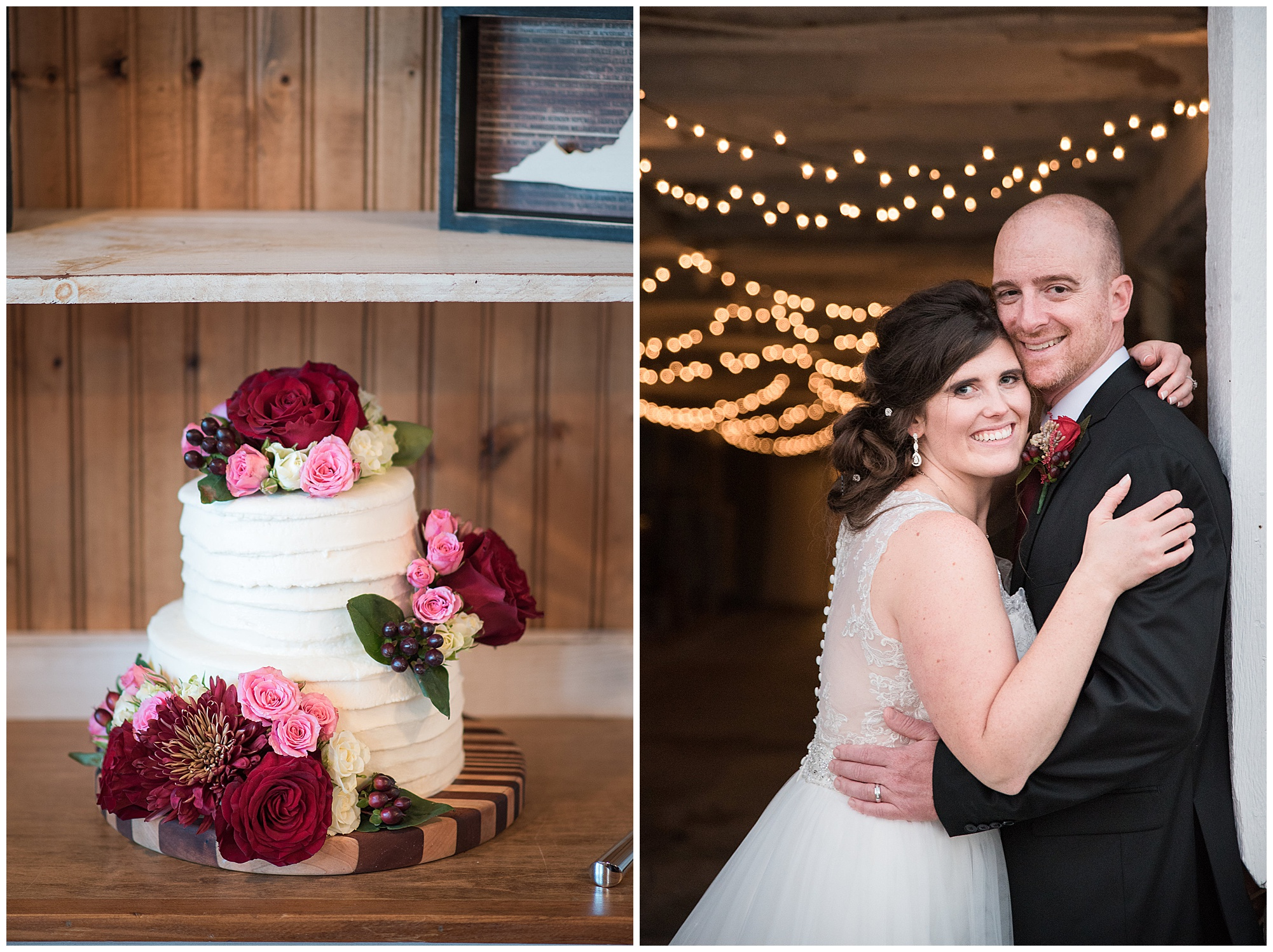wedding photos at covered bridge inn bed and breakfast farm in lewes delaware. historic wedding barn venue on the eastern shore. fall wedding in november with rustic decor theme. photo of wedding cake with pink and red flowers and bride and groom hugging in barn with twinkly lights.
