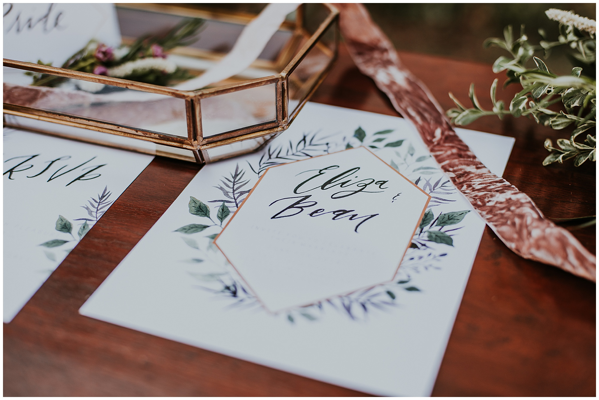 glamorous and boho style wedding theme at chanceford hall bed and breakfast. wedding detail photo of invites and invitation suite. maryland wedding now featured on my eastern shore wedding.