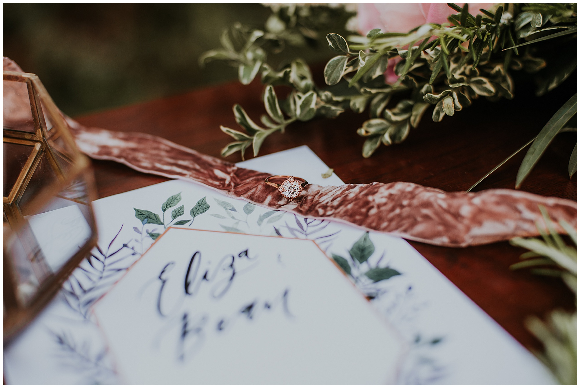 glamorous and boho style wedding theme with velvet ribbon and engagement ring at chanceford hall bed and breakfast. wedding ring and wedding invitation. maryland wedding now featured on my eastern shore wedding.