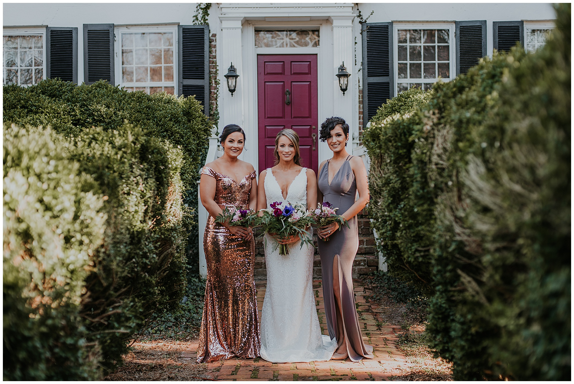glamorous and boho style wedding theme at chanceford hall bed and breakfast. bride and bridesmaids outdoors at historic venue. maryland wedding now featured on my eastern shore wedding.