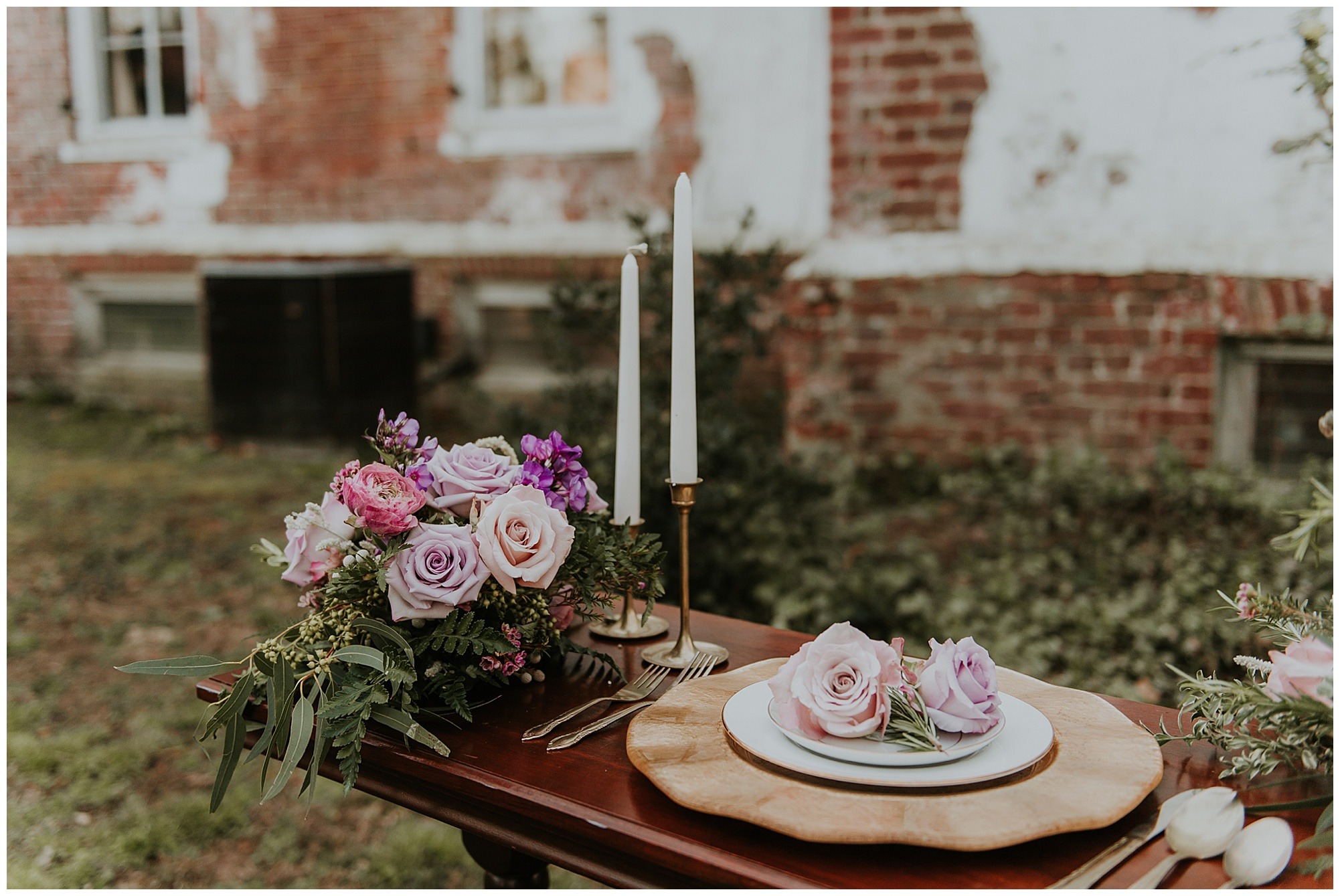romantic and vintage inspired table setting and boho reception decor with modern vibes at chanceford hall bed and breakfast. maryland venue