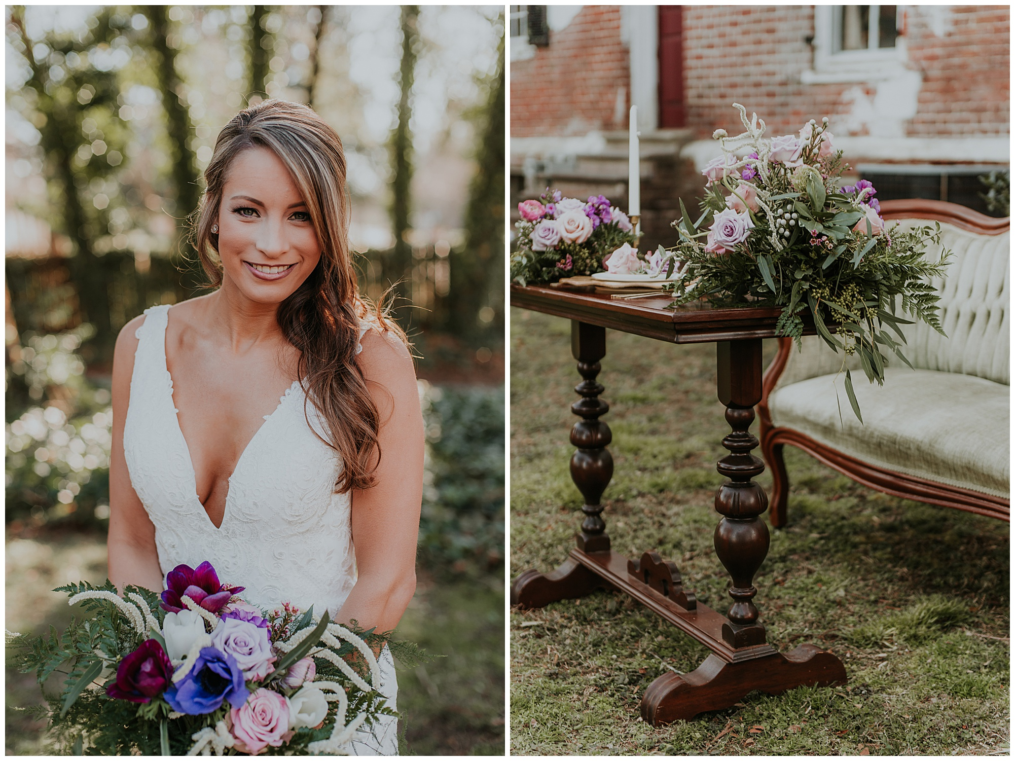 vintage style lounge seating area and boho style fashion bride portrait outdoors at historic maryland venue chanceford hall bed and breakfast