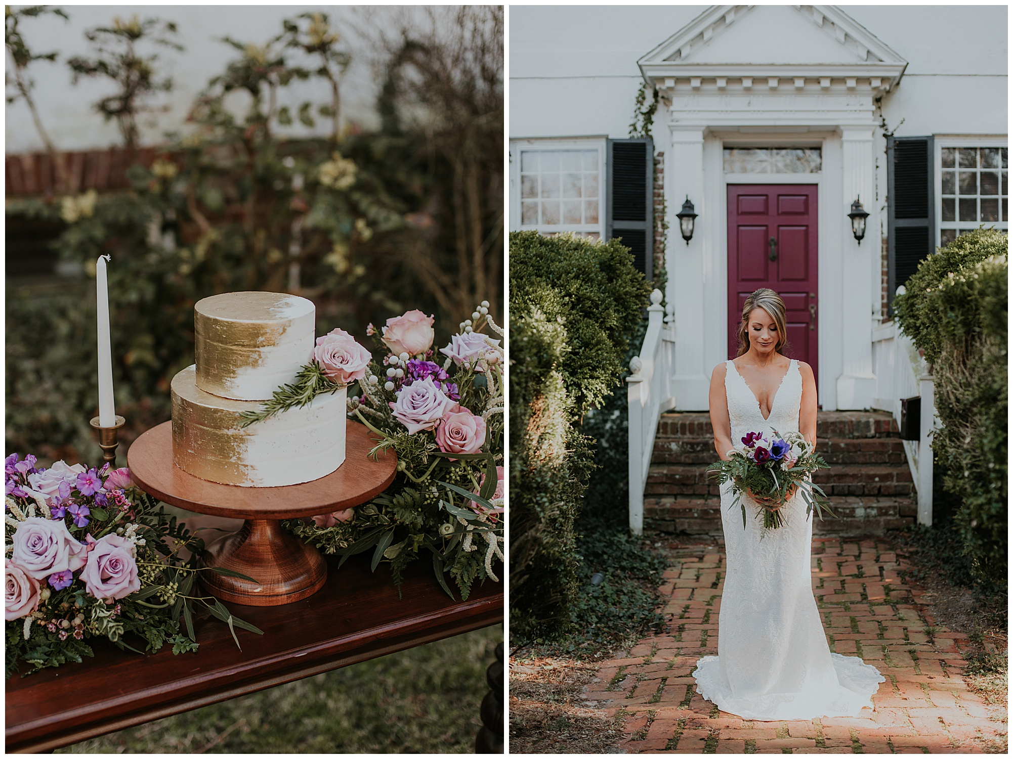 glamorous and boho style wedding theme at chanceford hall bed and breakfast. bride outdoors at historic venue. photo of gold and white wedding cake. maryland wedding now featured on my eastern shore wedding.