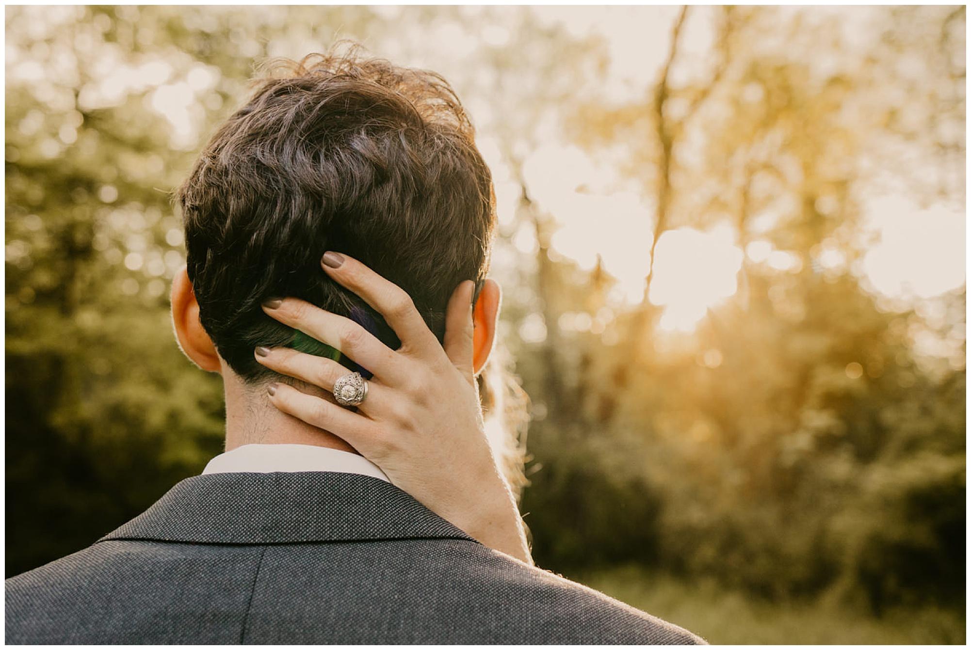first kiss. formal portrait for wedding day. outdoors on maryland eastern shore. chesapeake bay region wedding.