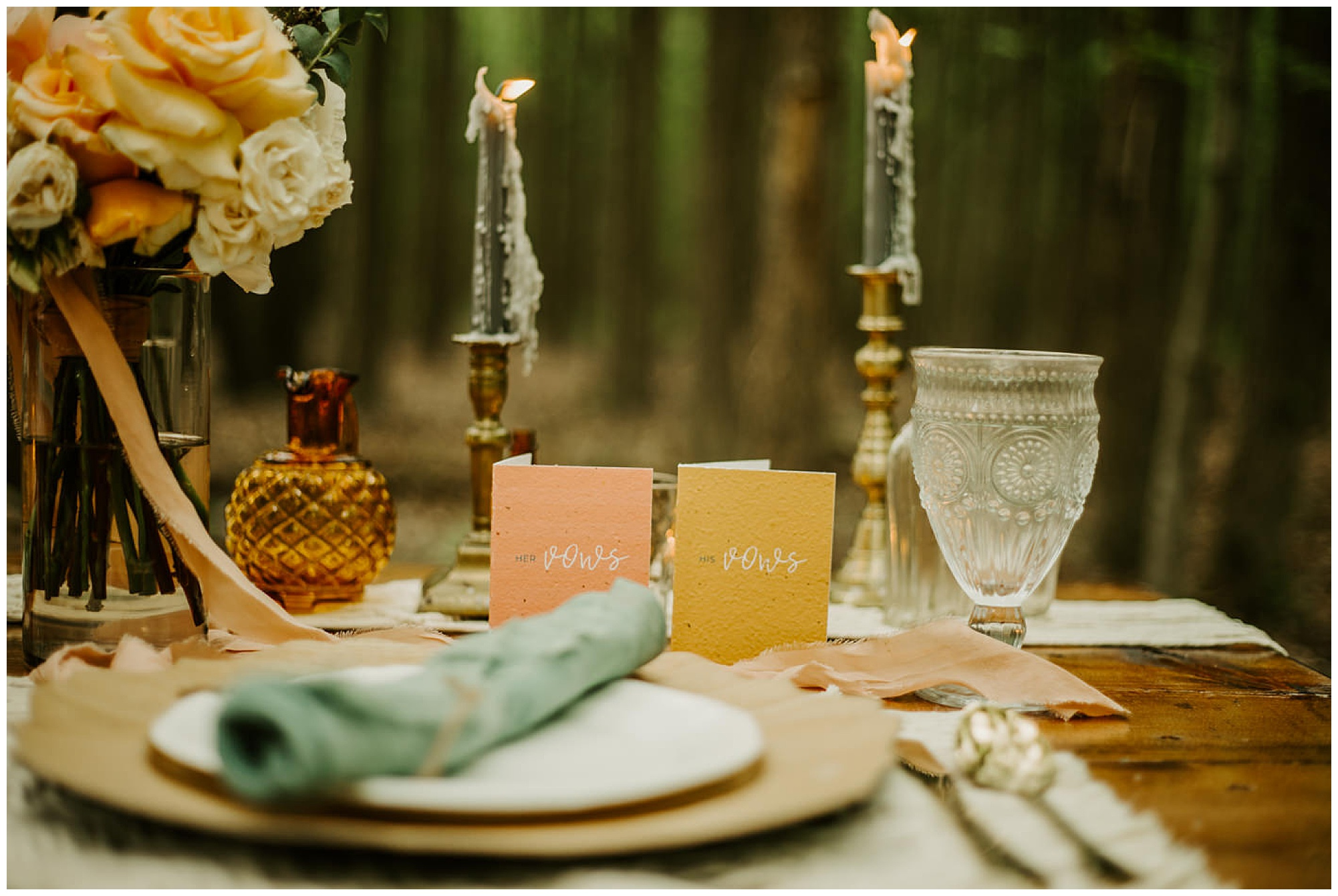 eco friendly vow cards and signage with vintage and eclectic table setting. wedding inspo from maryland eastern shore. outdoors. reception theme.