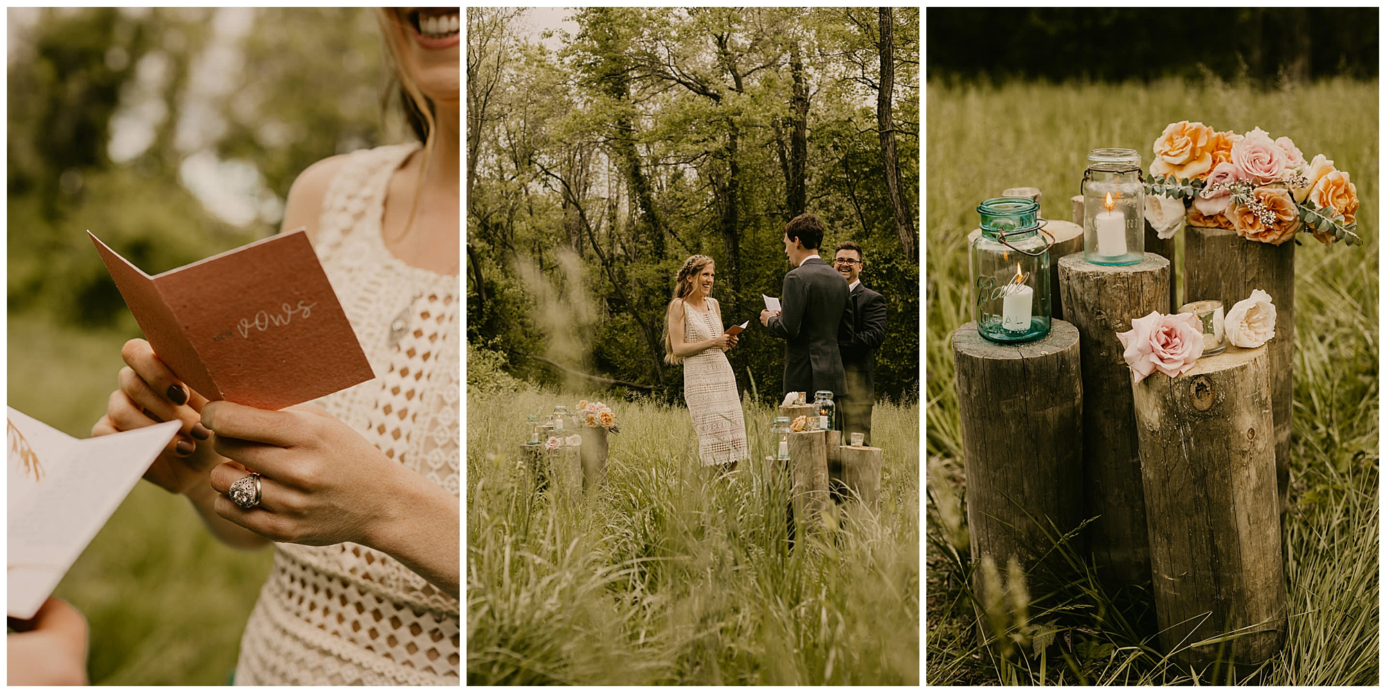 green glass lanterns, candles, blush and light peach bouquet, tree stump pillars ceremony decor | chic boho style wedding and carefree elopement inspo at prancing deer farm now featured on my eastern shore wedding blog